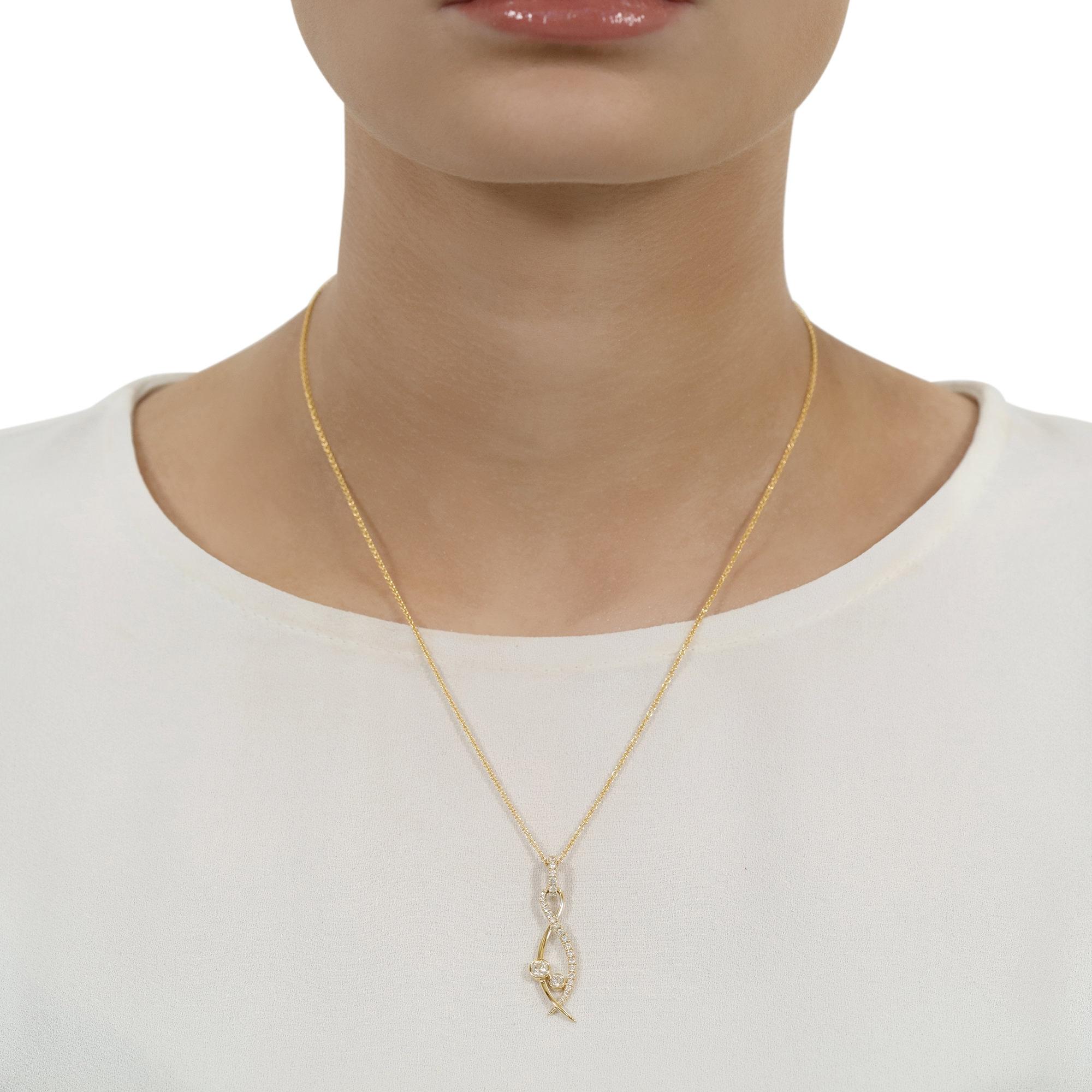 Lunar Yellow Gold Pavé Diamond Pendant