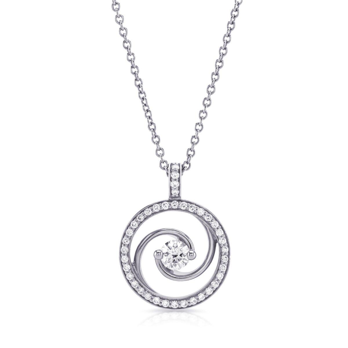 Whirlwind White Gold Diamond Pendant