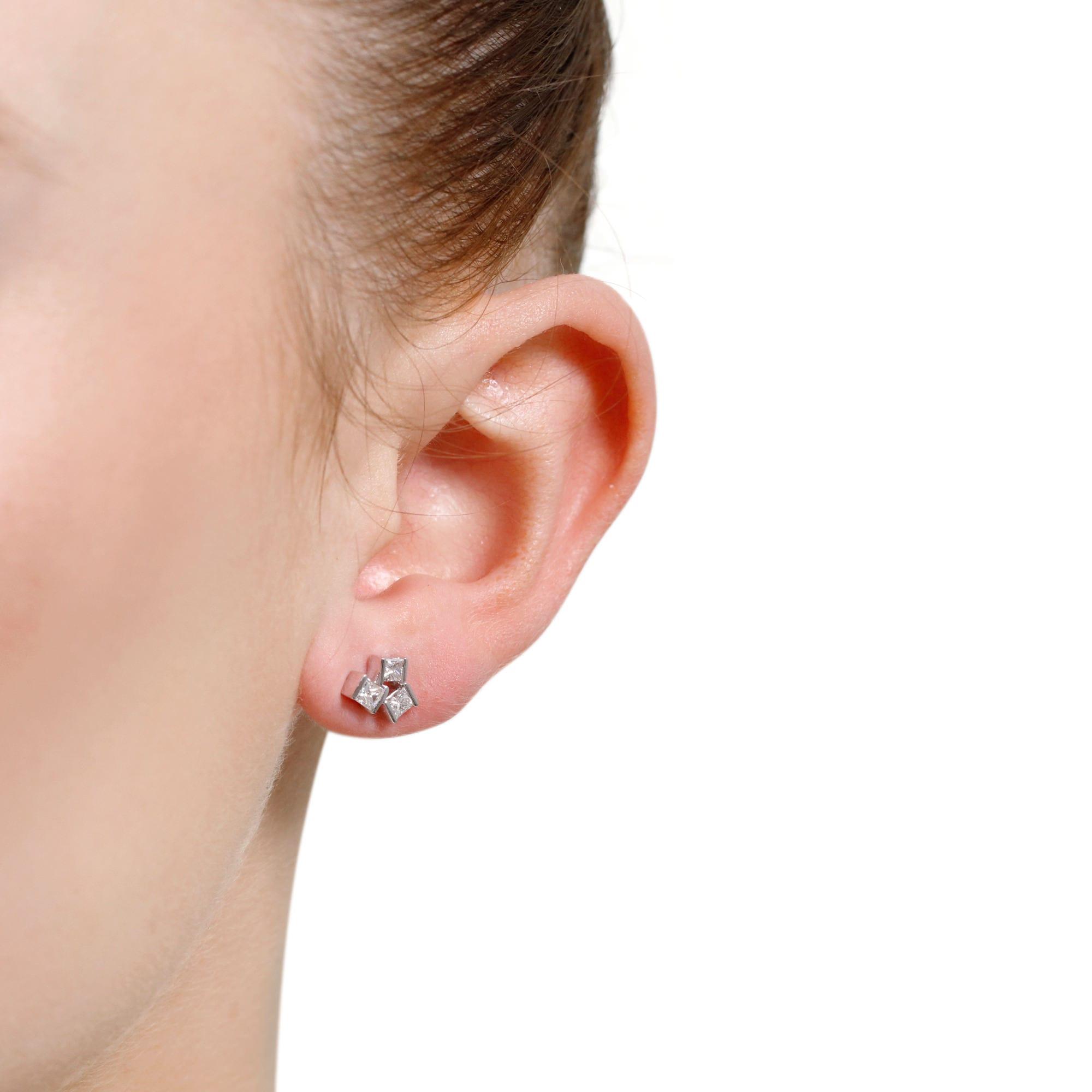 Hopscotch White Gold Small Diamond Stud Earrings