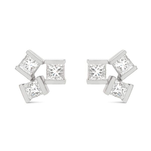 Hopscotch White Gold Large Diamond Stud Earrings