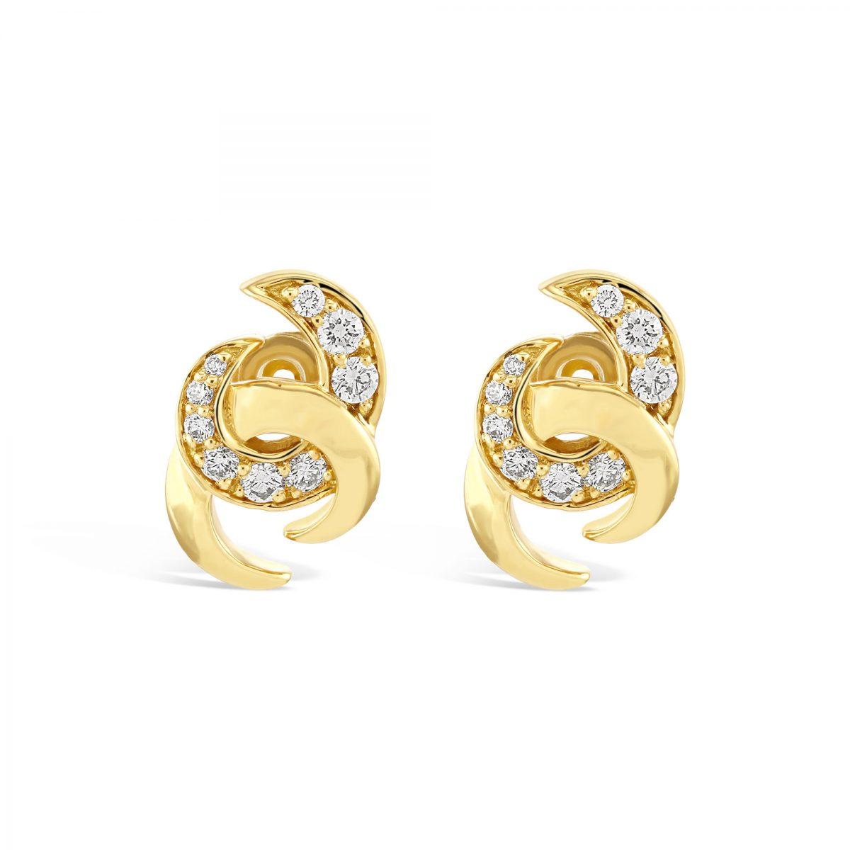 Hooked On You Yellow Gold Diamond Earrings