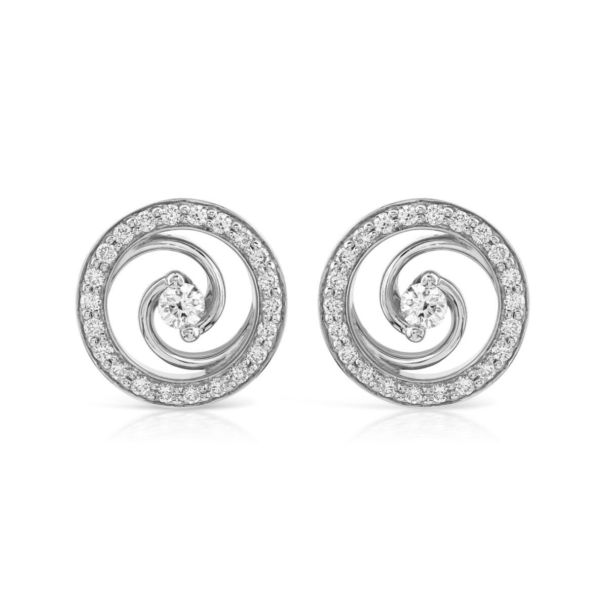 Whirlwind White Gold Diamond Stud Earrings