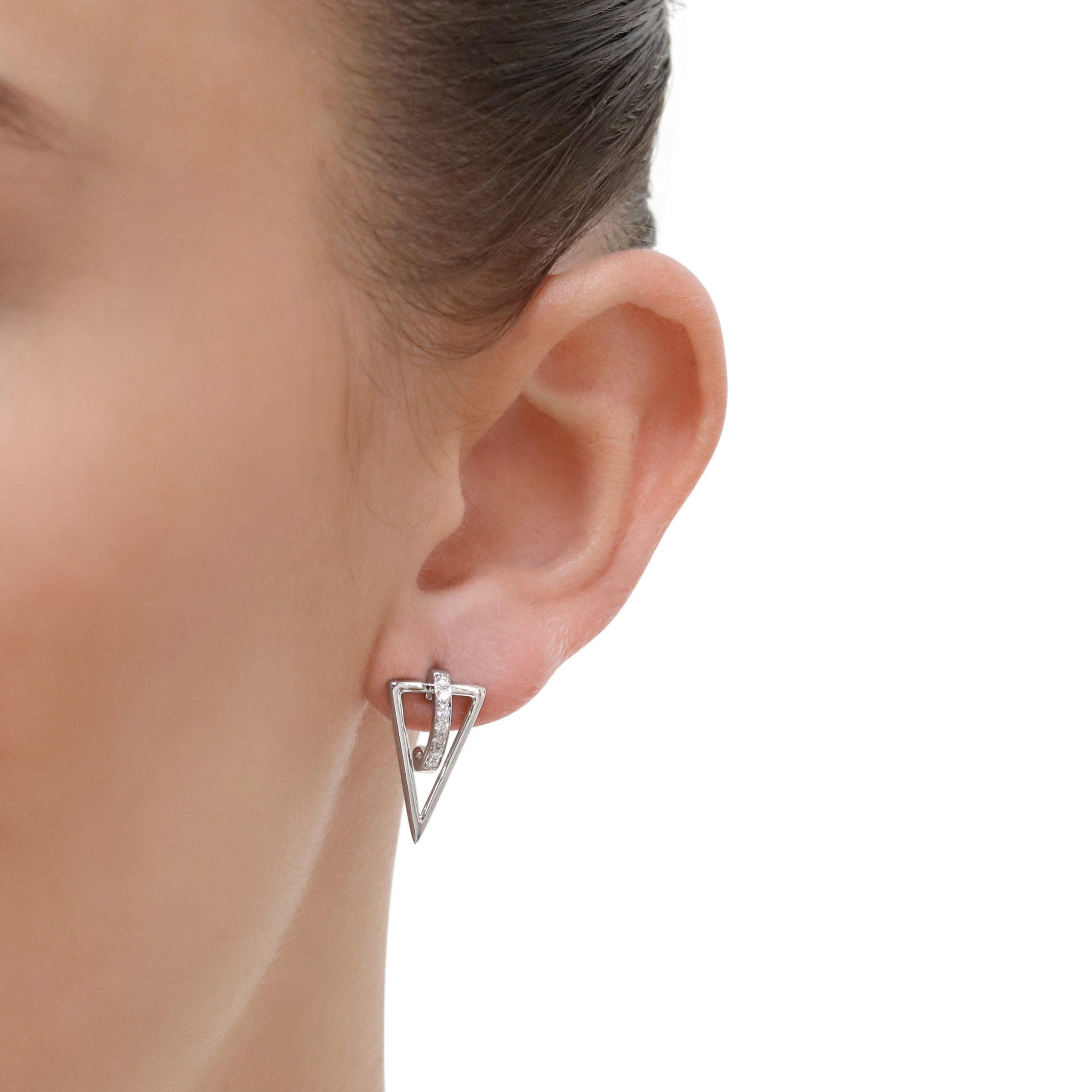 White Gold Diamond Triangle Stud Earrings