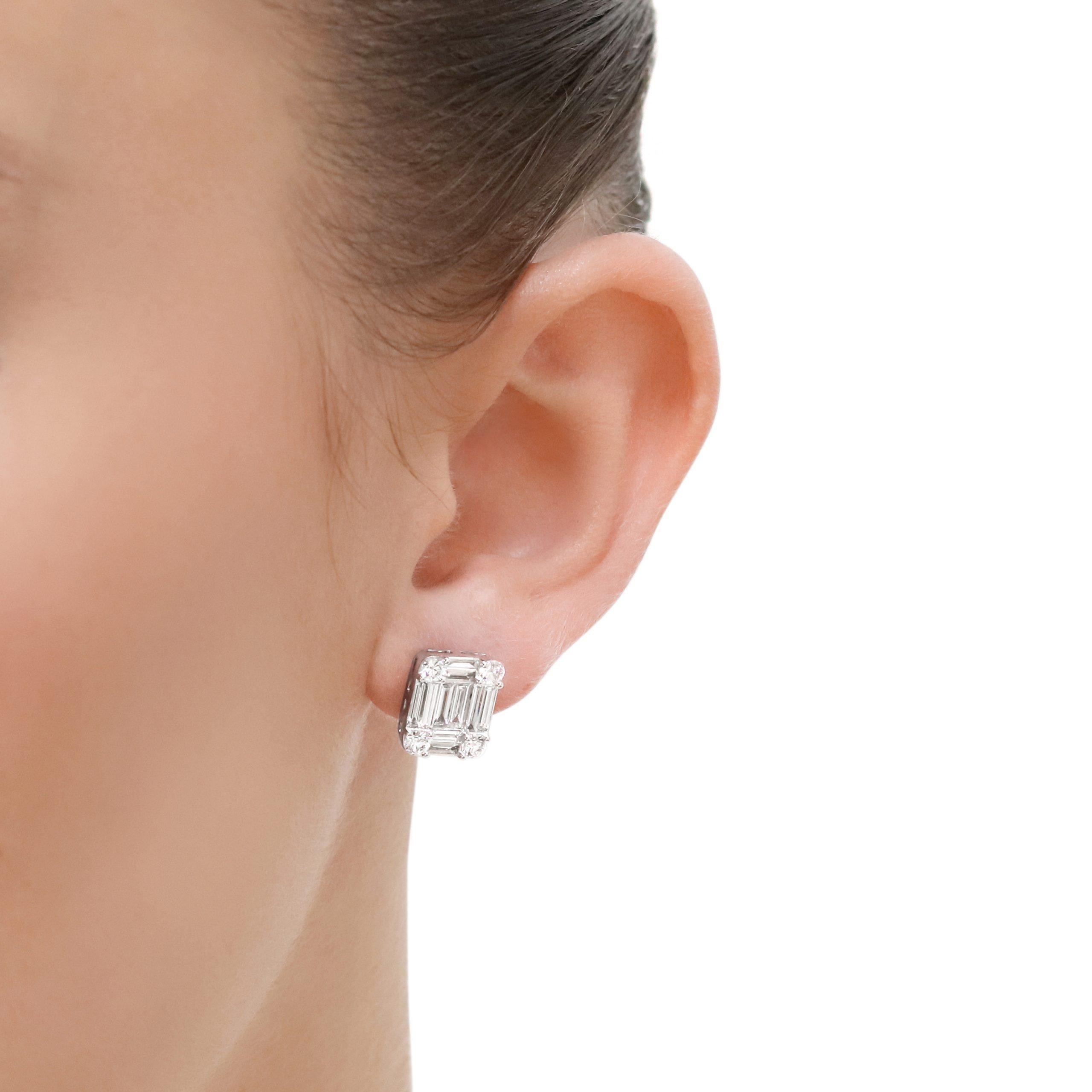 White Gold Mixed Cut Diamond Studs