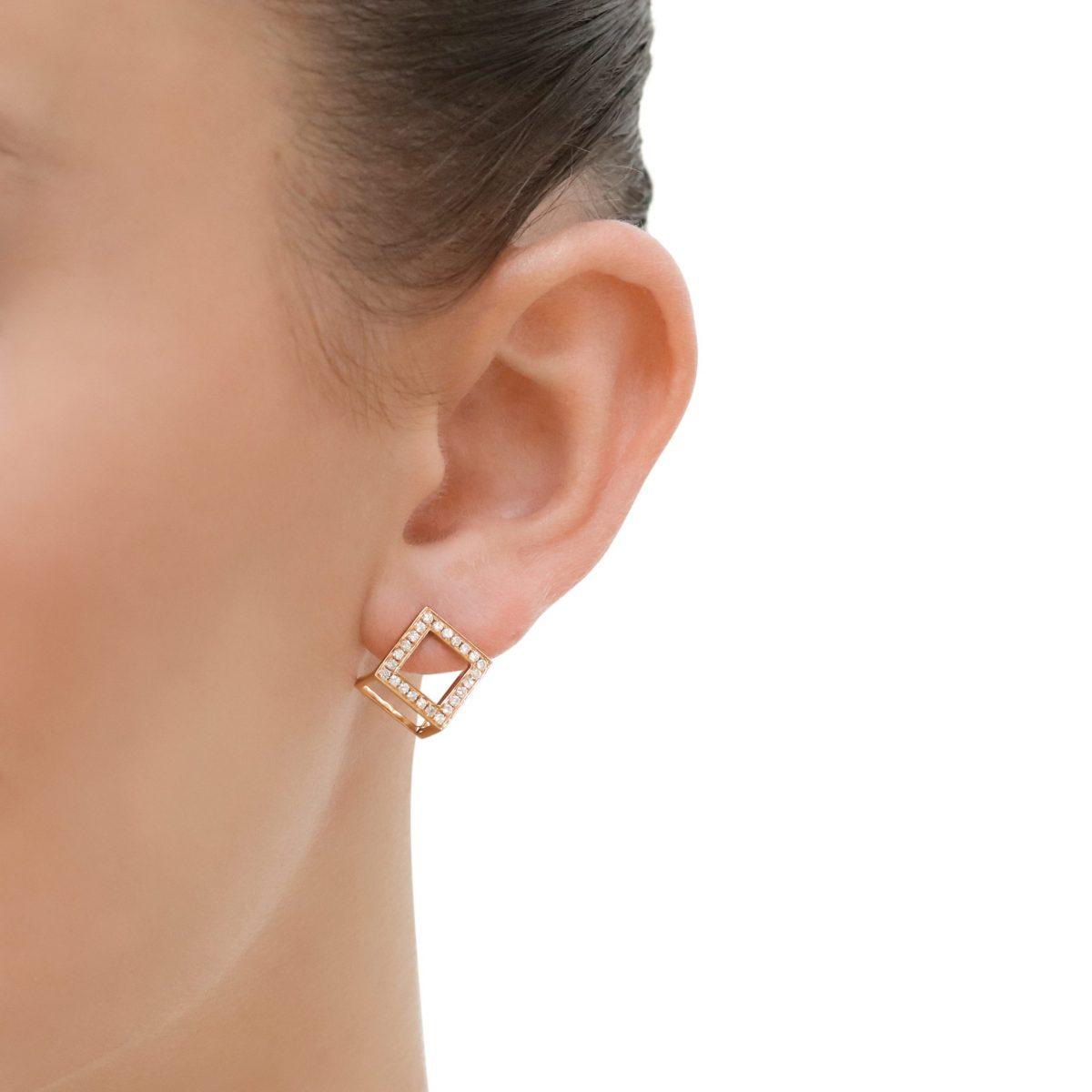 Rose Gold Diamond Cube Earrings