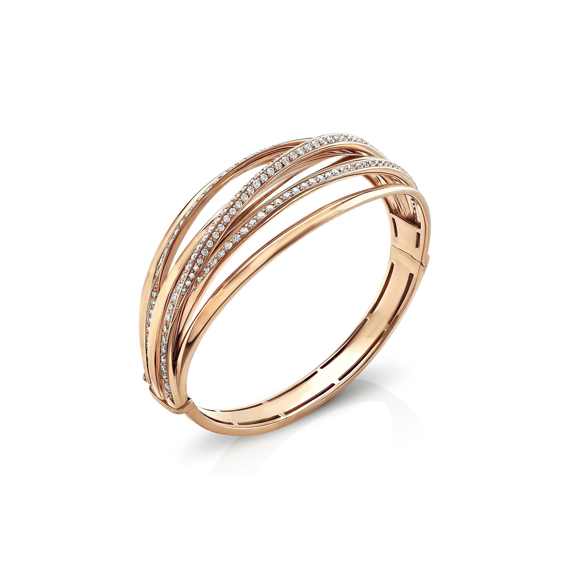 Ribbon Rose Gold Diamond Bangle