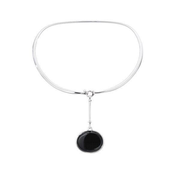 Dew Drop Sterling Silver & Black Obsidian Pendant