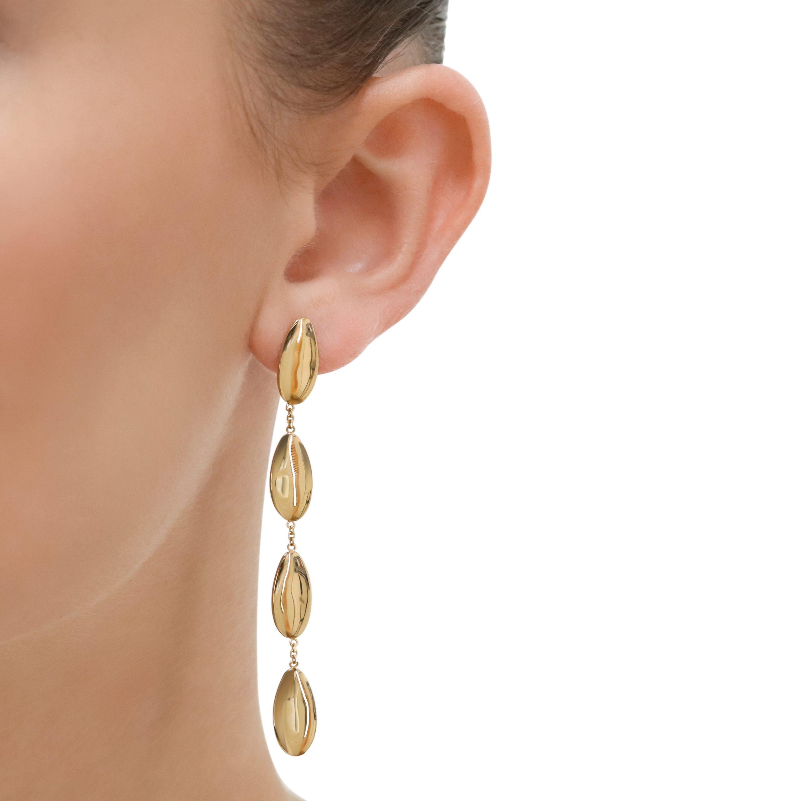 Giallo Yellow Gold Oval Drop Earrings