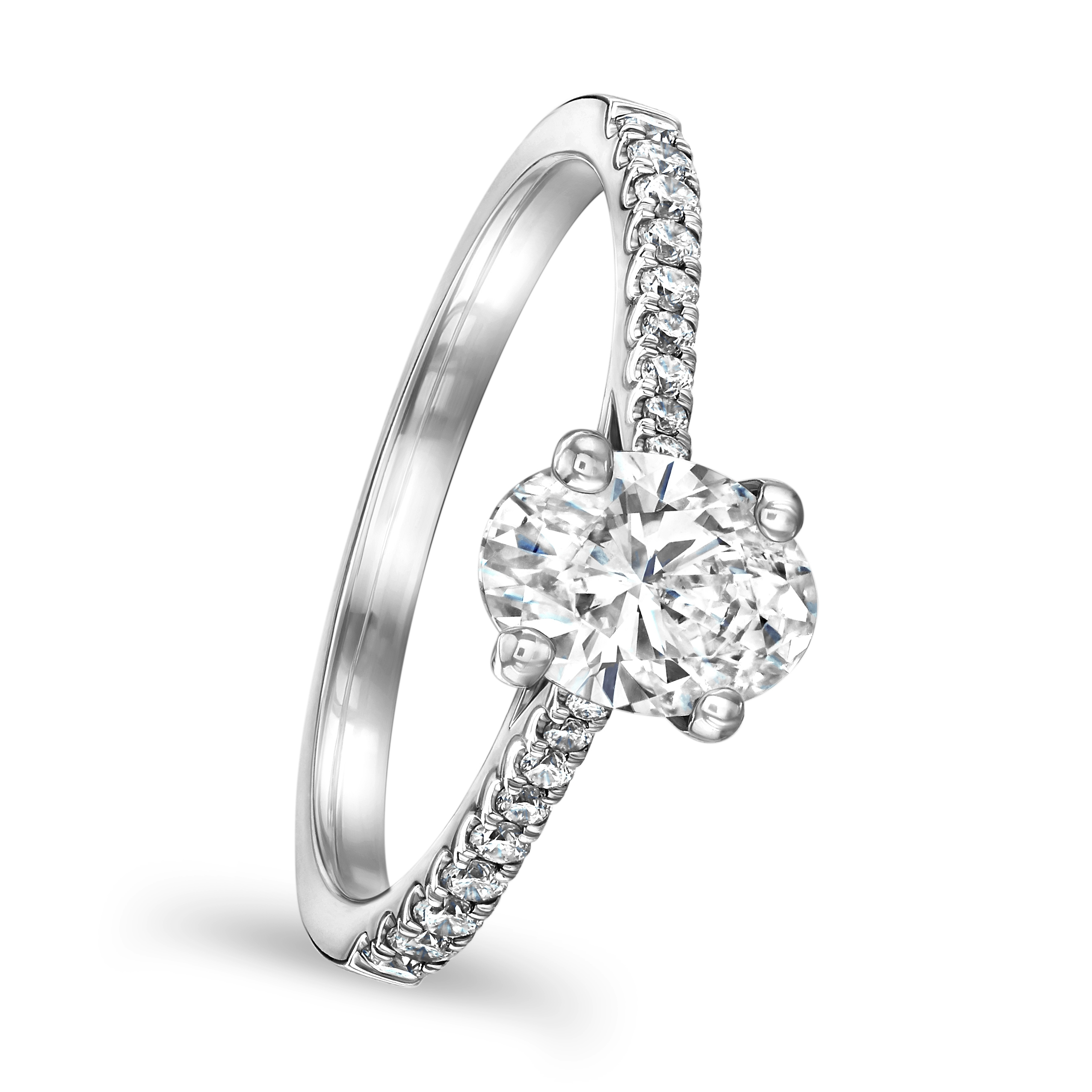 Oval Cut Platinum Diamond Ring