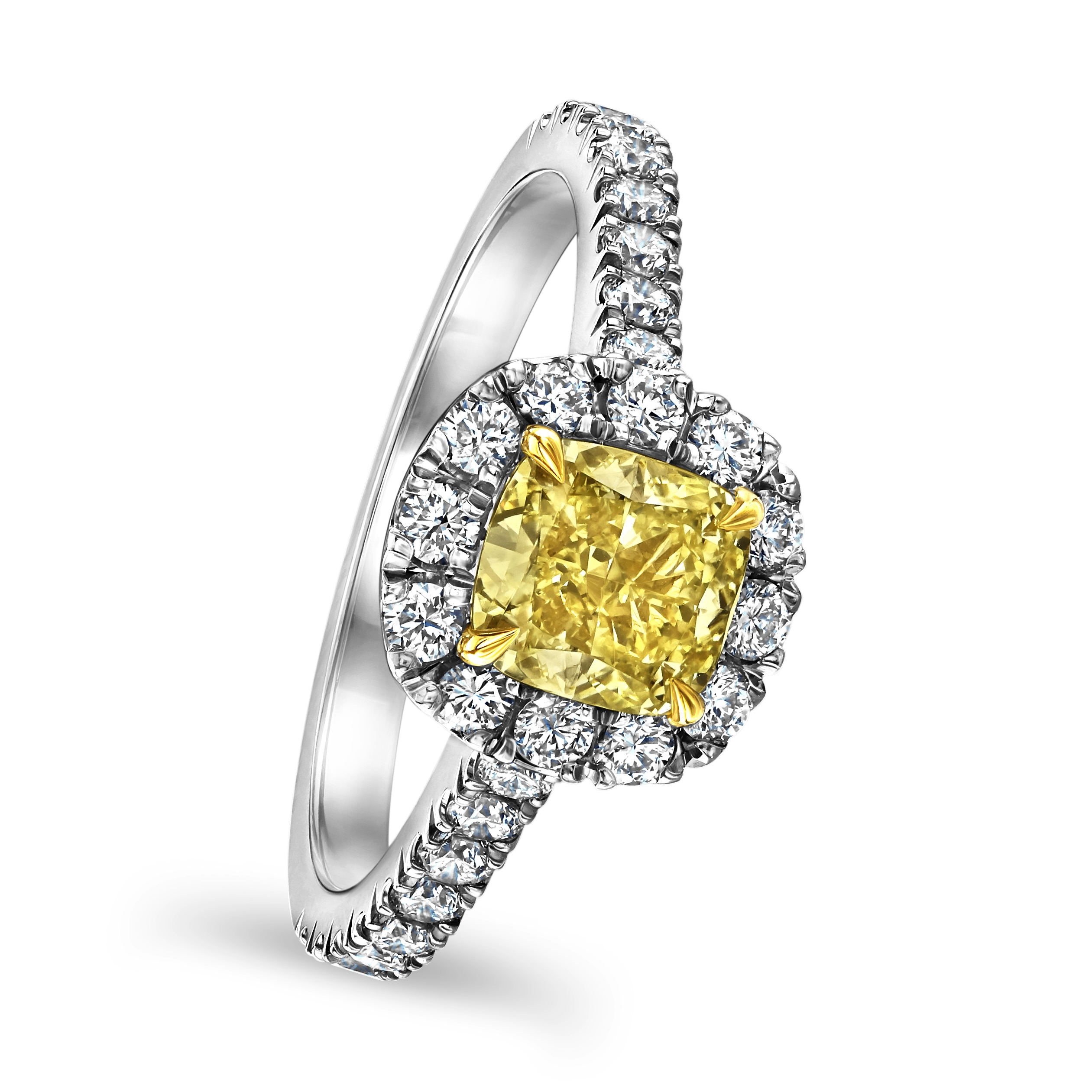 Yellow Diamond Platinum Halo Ring
