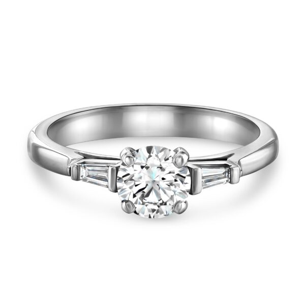 Round Brilliant Cut Platinum Diamond Trilogy Ring