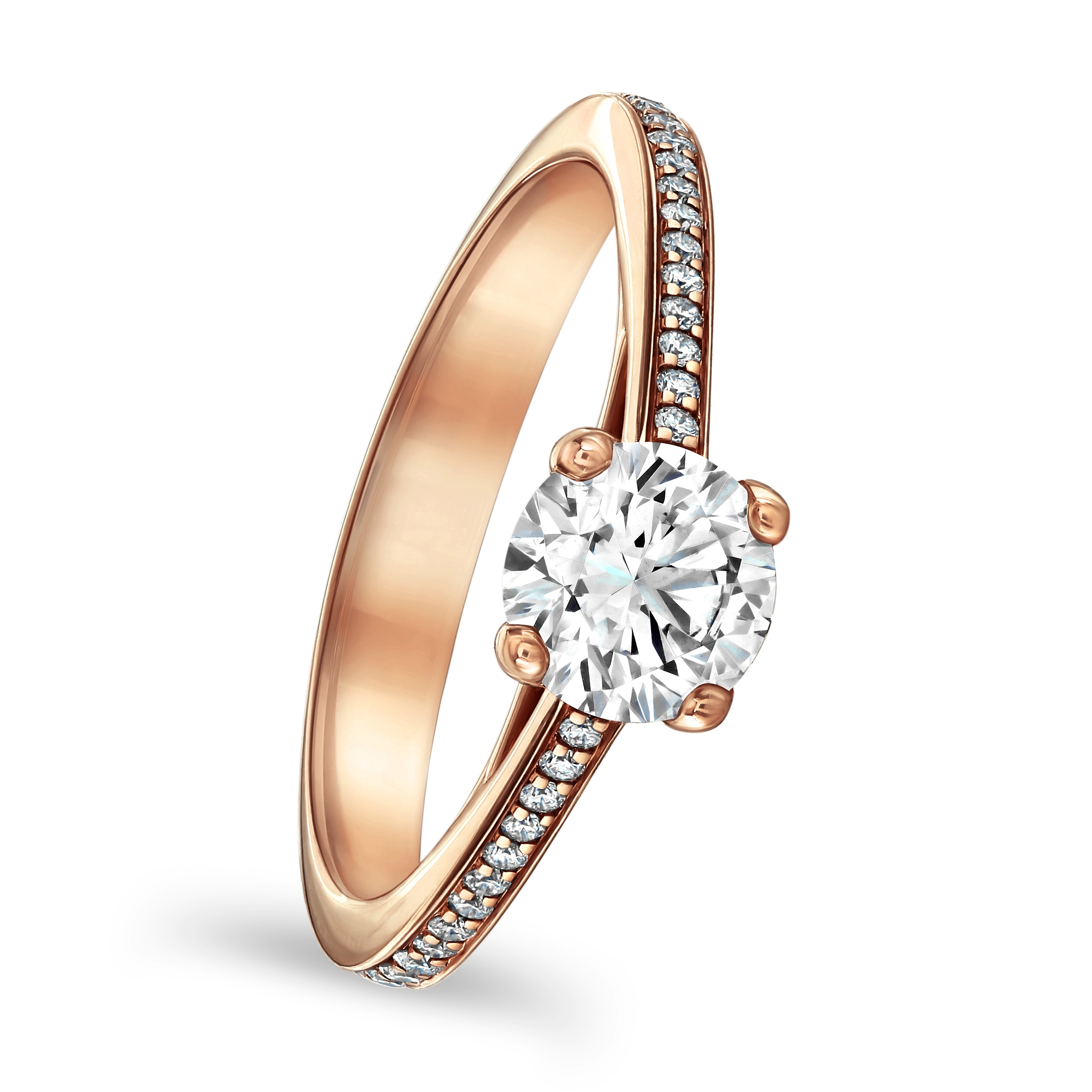Round Brilliant Cut Rose Gold Diamond Ring