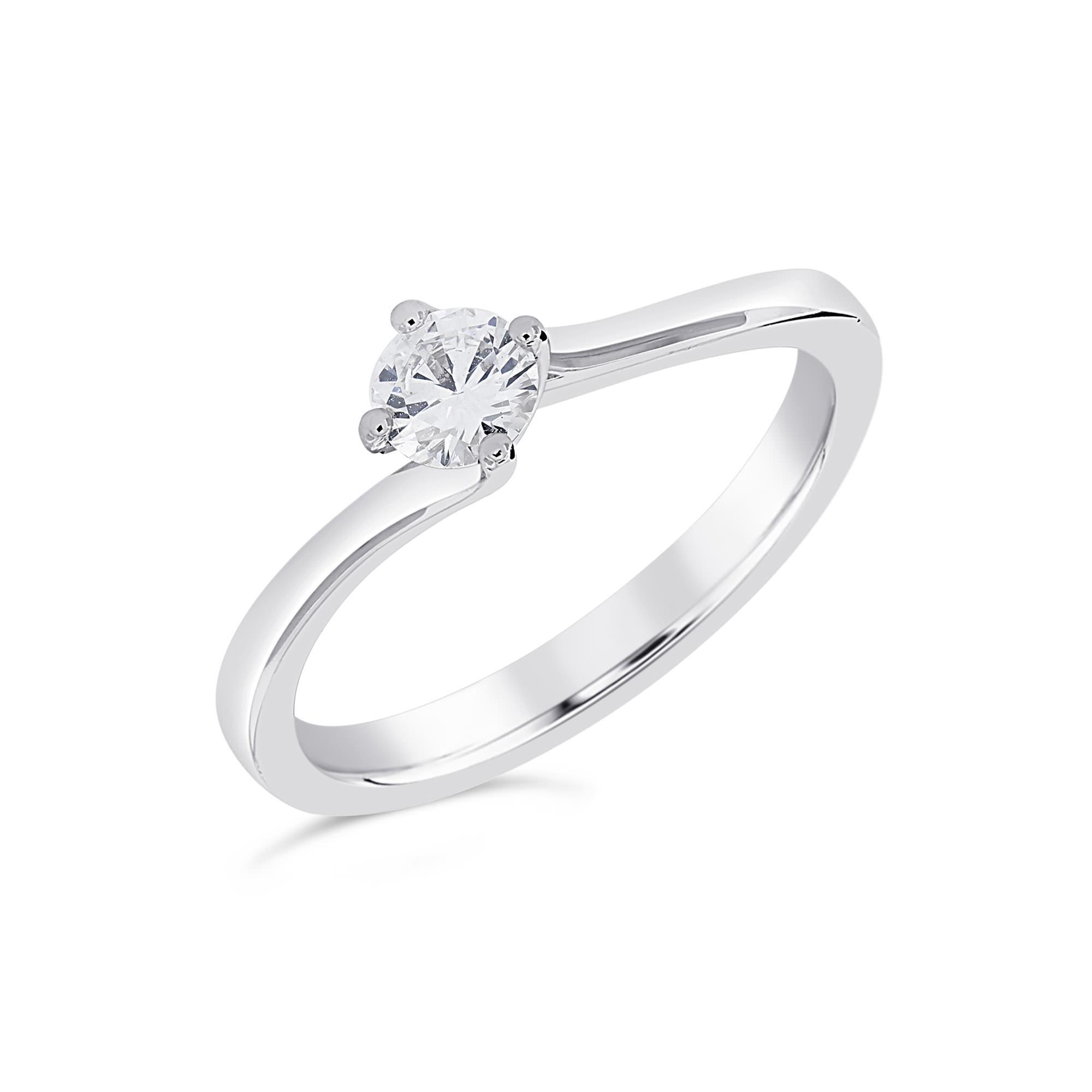 Round Brilliant Cut Platinum Diamond Twist Ring