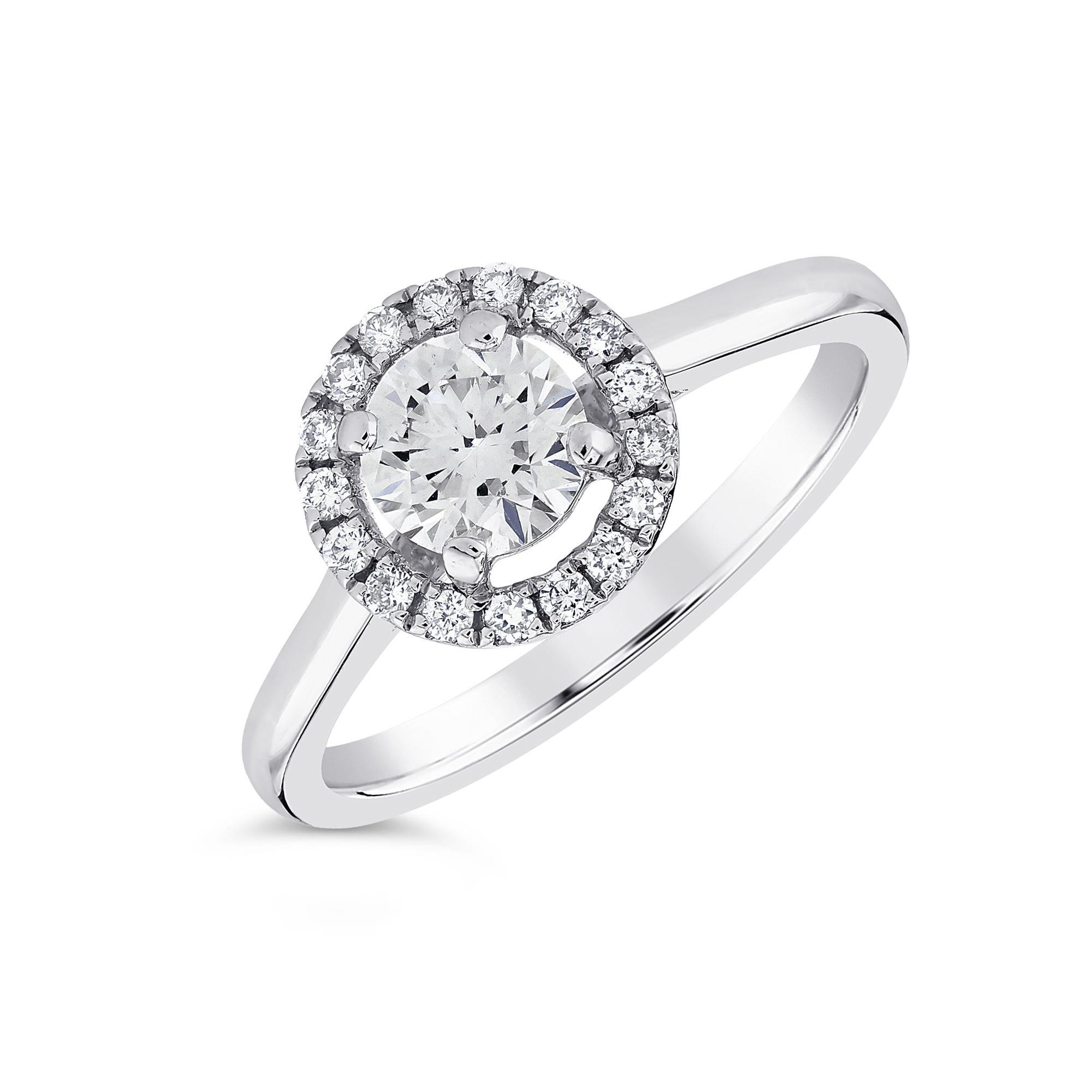 Round Brilliant Cut Platinum Diamond Halo Ring