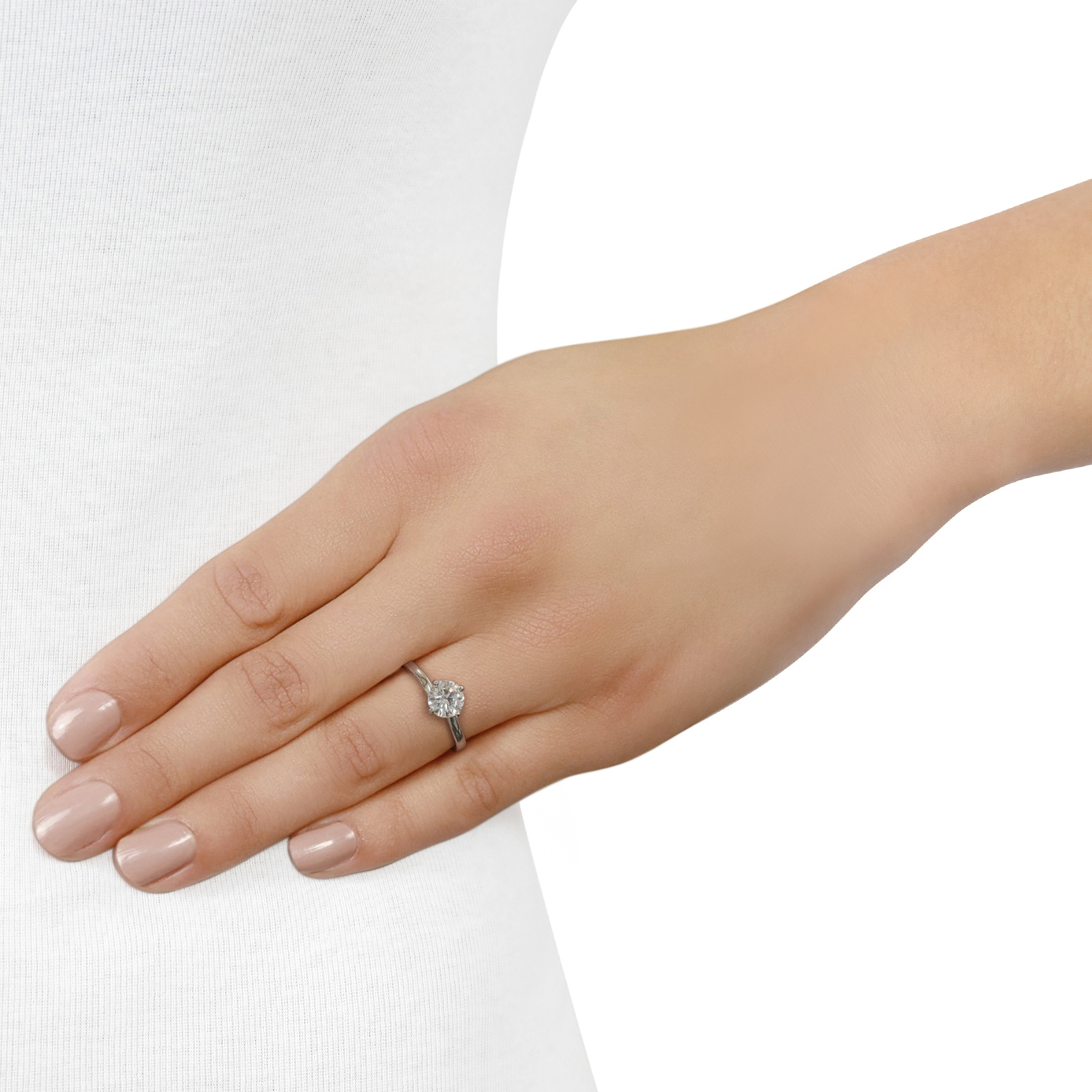 Round Brilliant Cut 'Twist' Platinum Diamond Ring