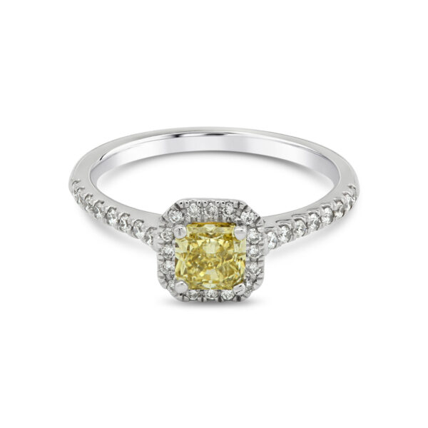 Princess Cut Yellow Diamond Platinum Halo Ring