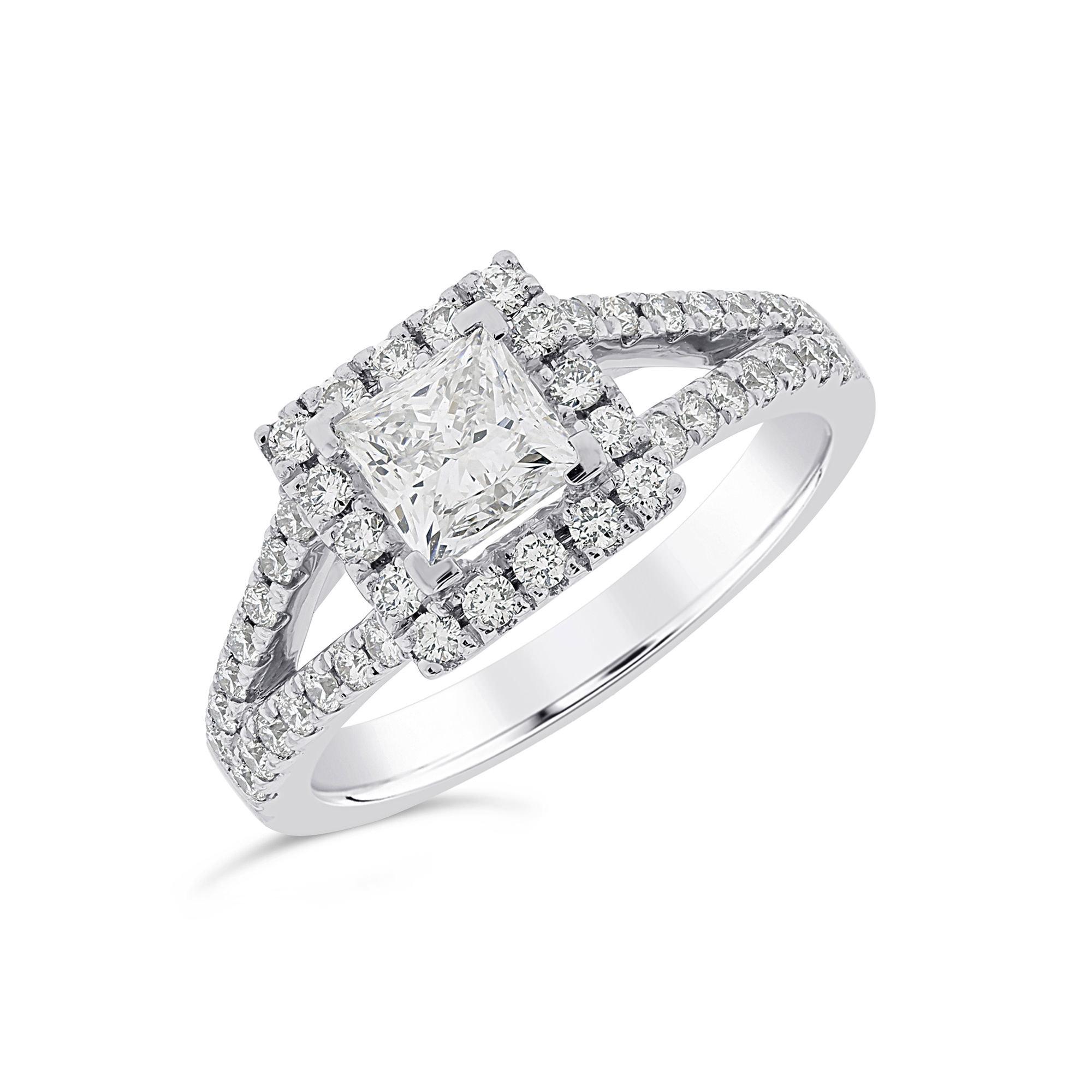 Princess Cut Platinum Diamond Halo Ring
