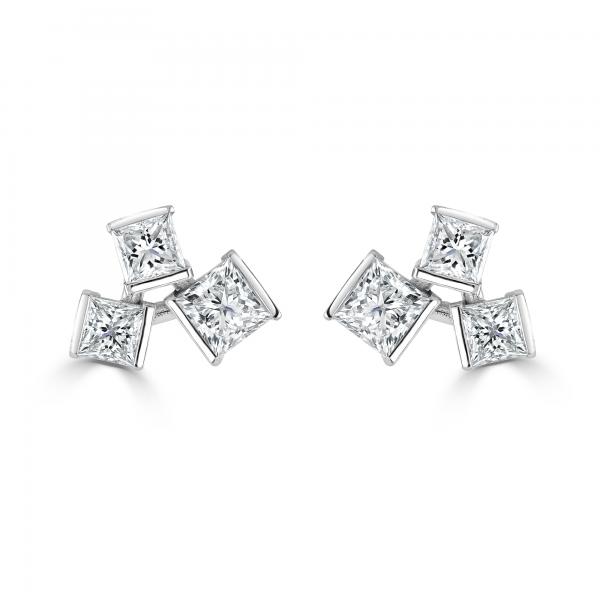 Hopscotch White Gold Diamond Stud Earrings