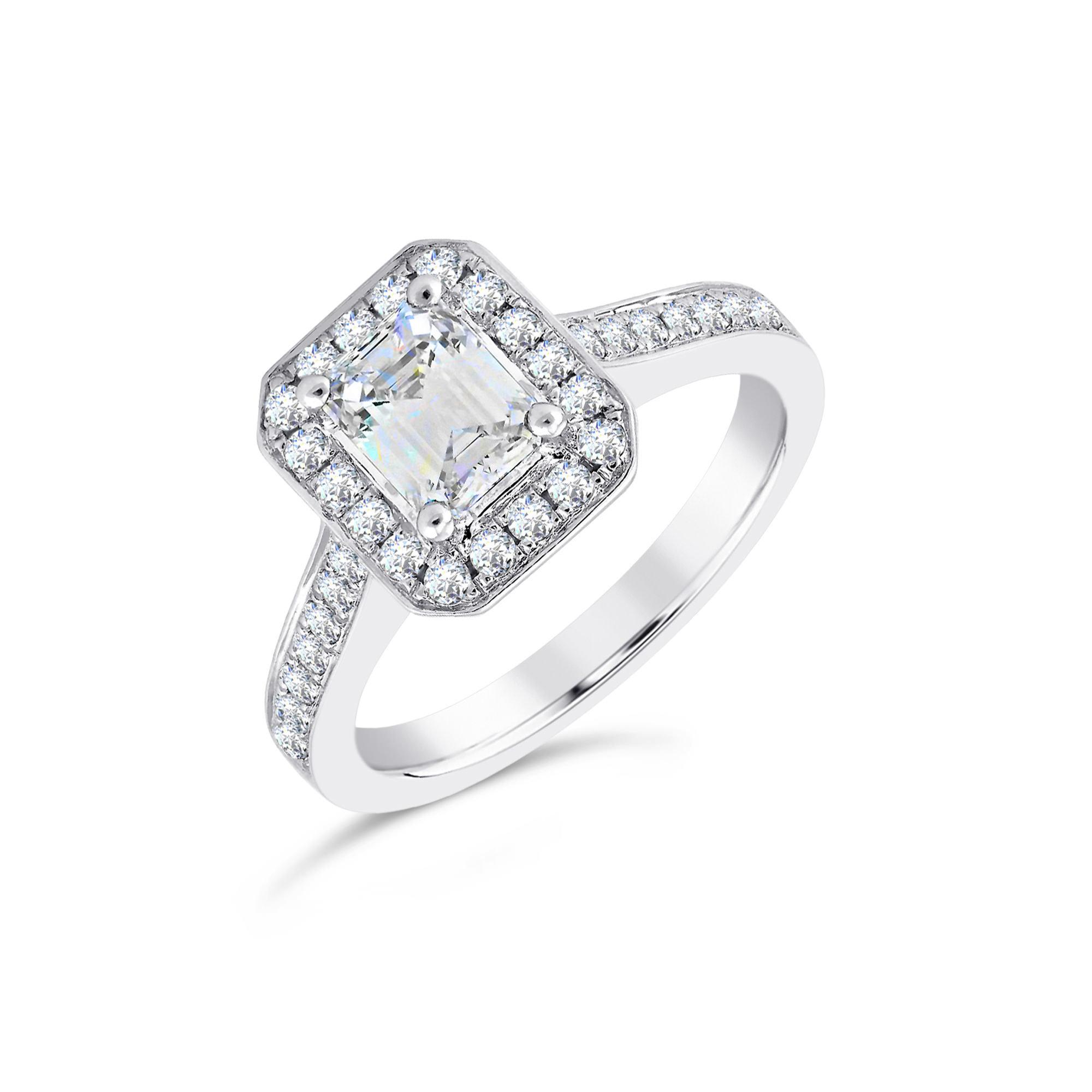 Emerald Cut Platinum Diamond Halo Ring
