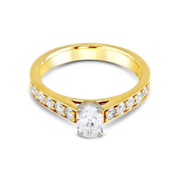 Oval Cut Yellow Gold Diamond Ring