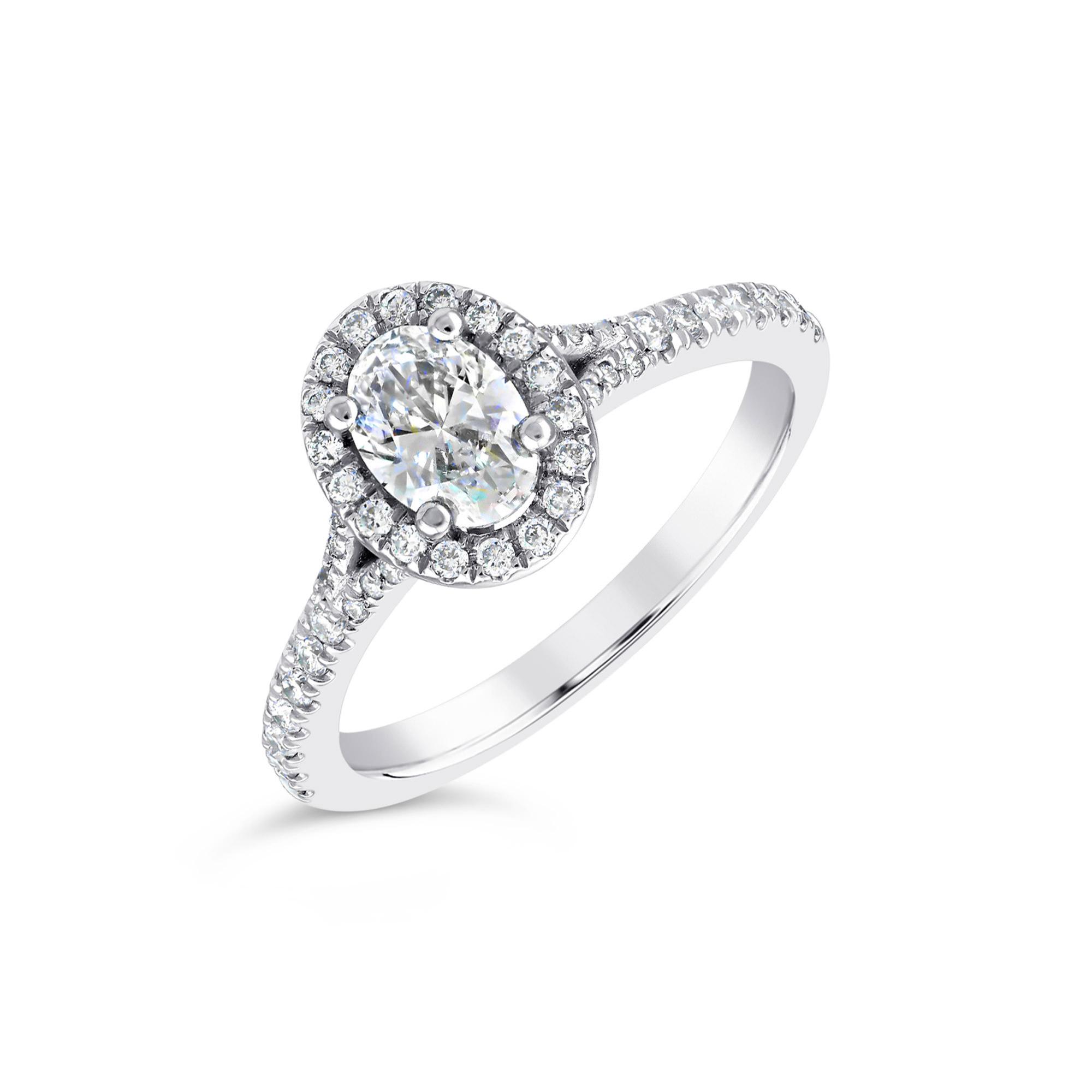 Oval Platinum Diamond Halo Ring