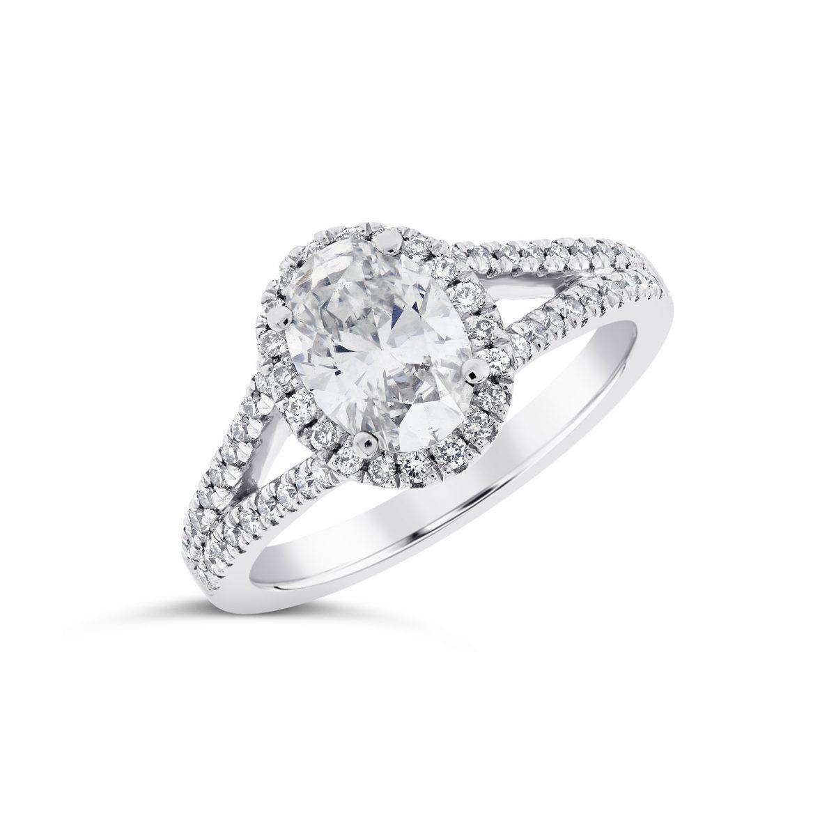 Oval Cut Platinum Diamond Halo Ring