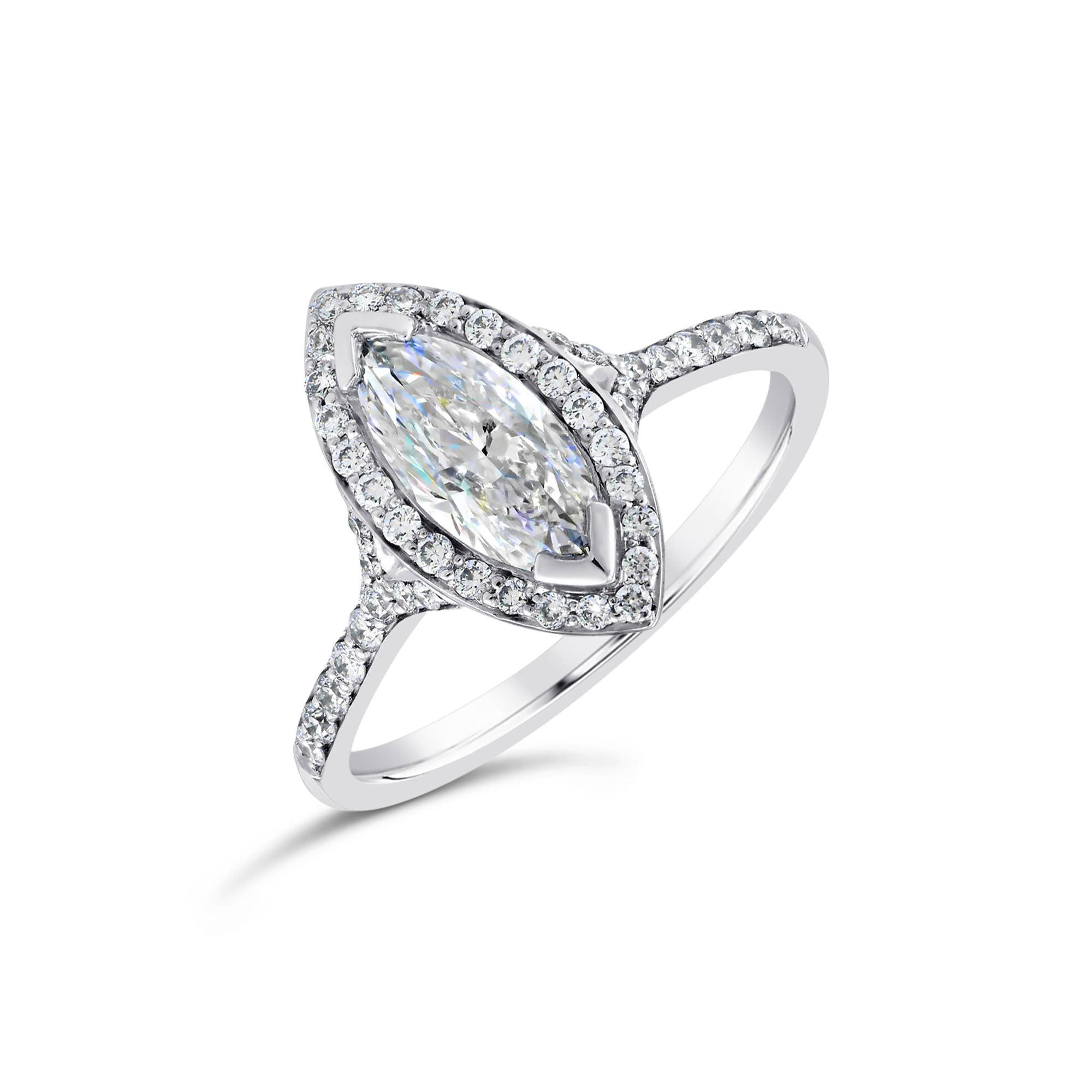 Marquise Cut Platinum Diamond Halo Ring