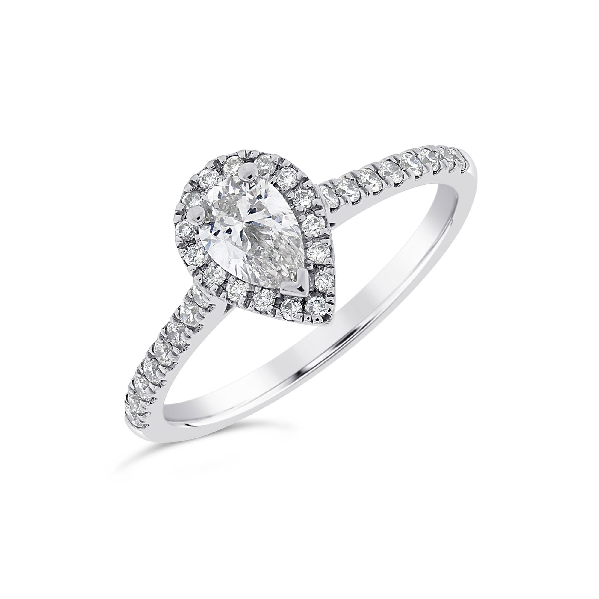 Pear Shape Platinum Diamond Halo Ring