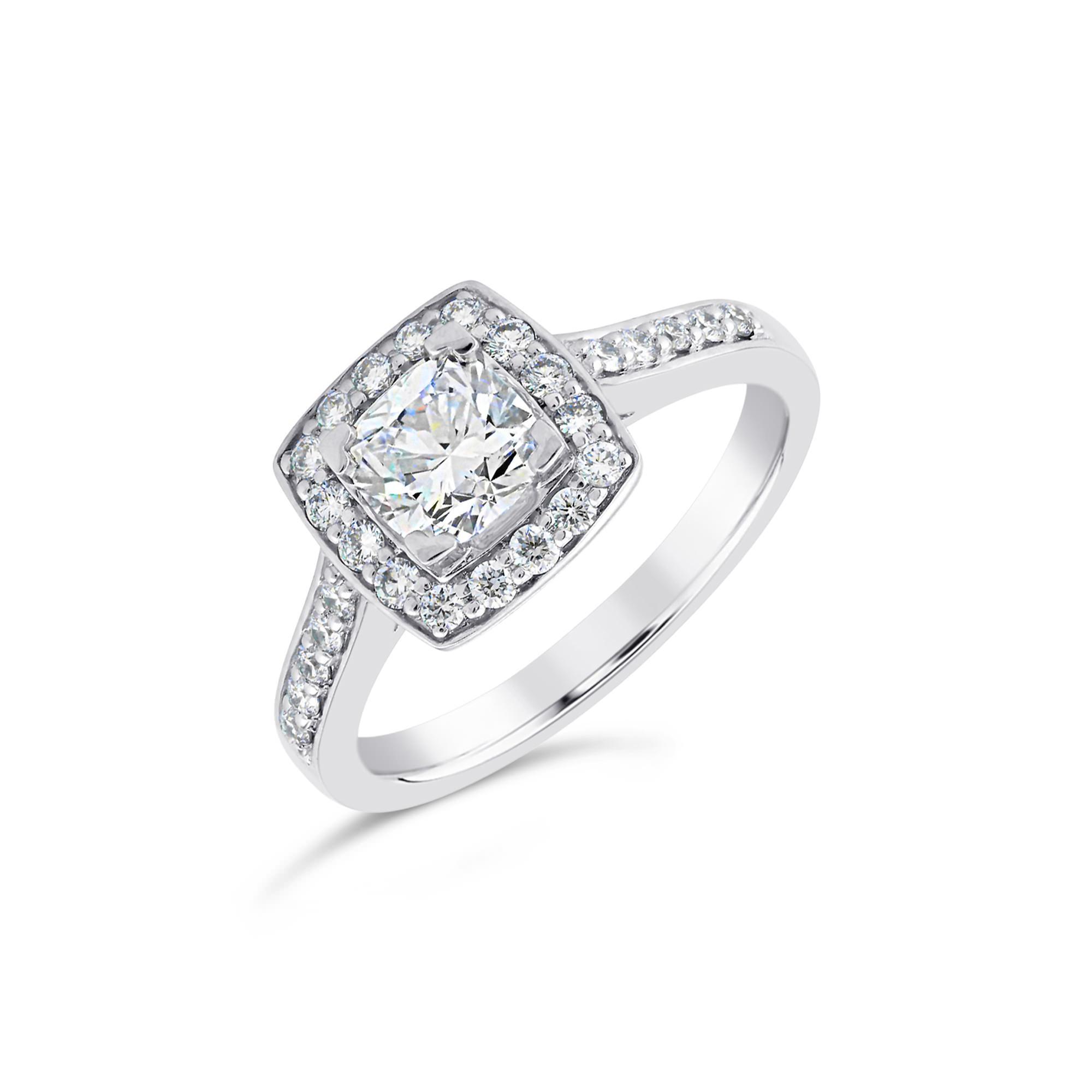 Cushion Cut Platinum Diamond Halo Ring