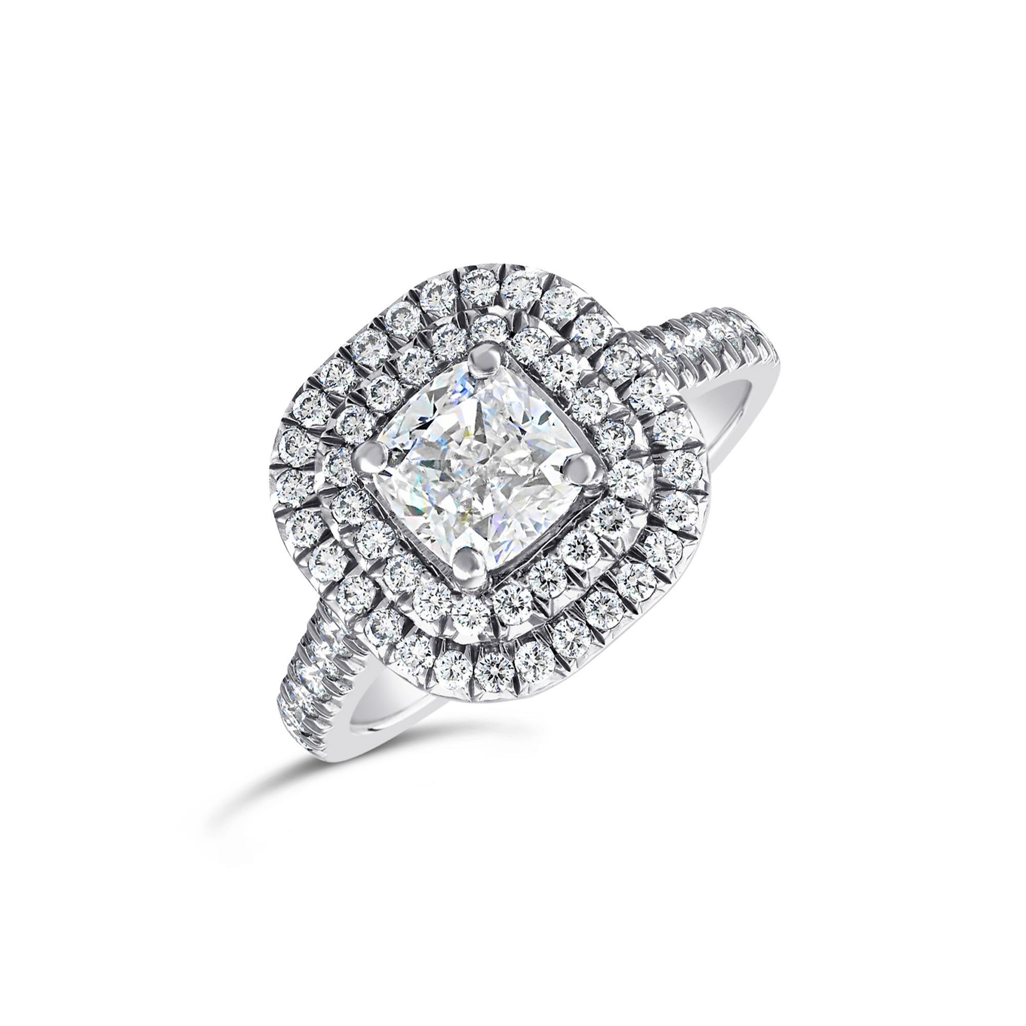 Cushion Cut Platinum Diamond Double Halo Ring