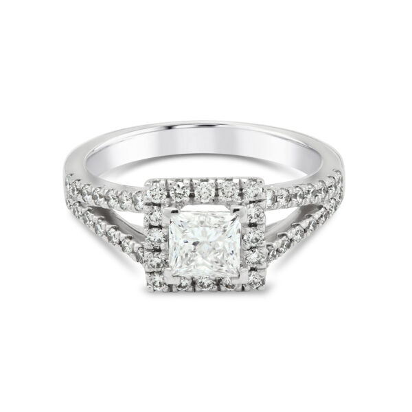 Princess Cut Platinum Diamond Halo Ring