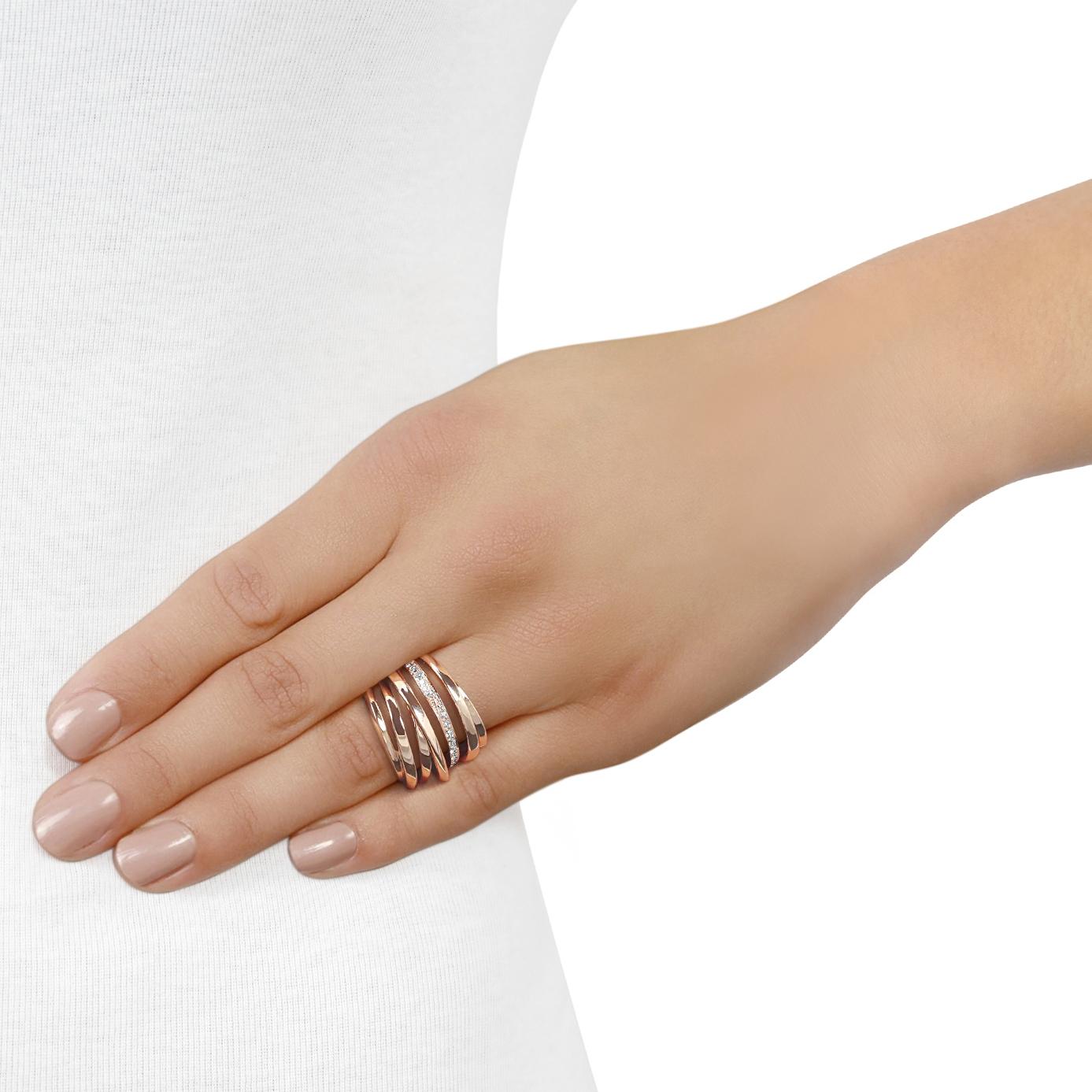 Ribbon Rose Gold Diamond Ring