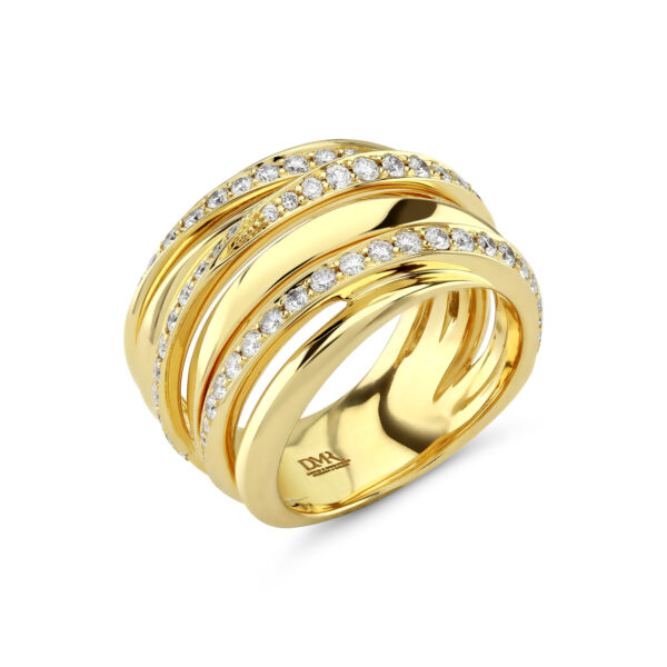 Ribbon Yellow Gold Diamond Ring