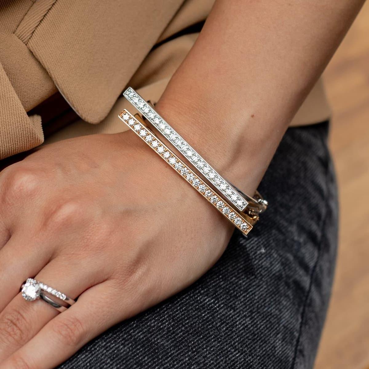 Love Lines White Gold Diamond Bangle