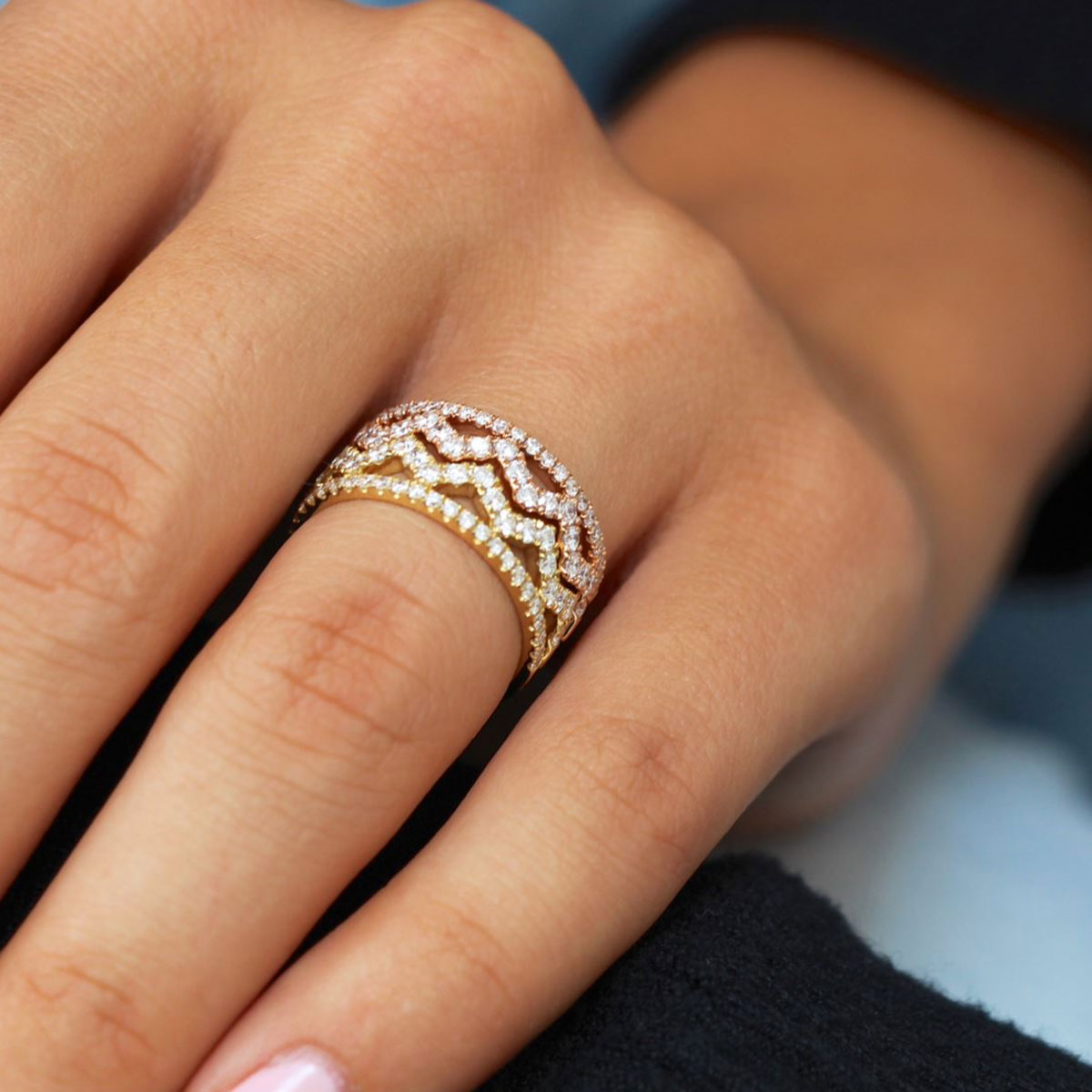 Gold And Diamond Stackable Ring