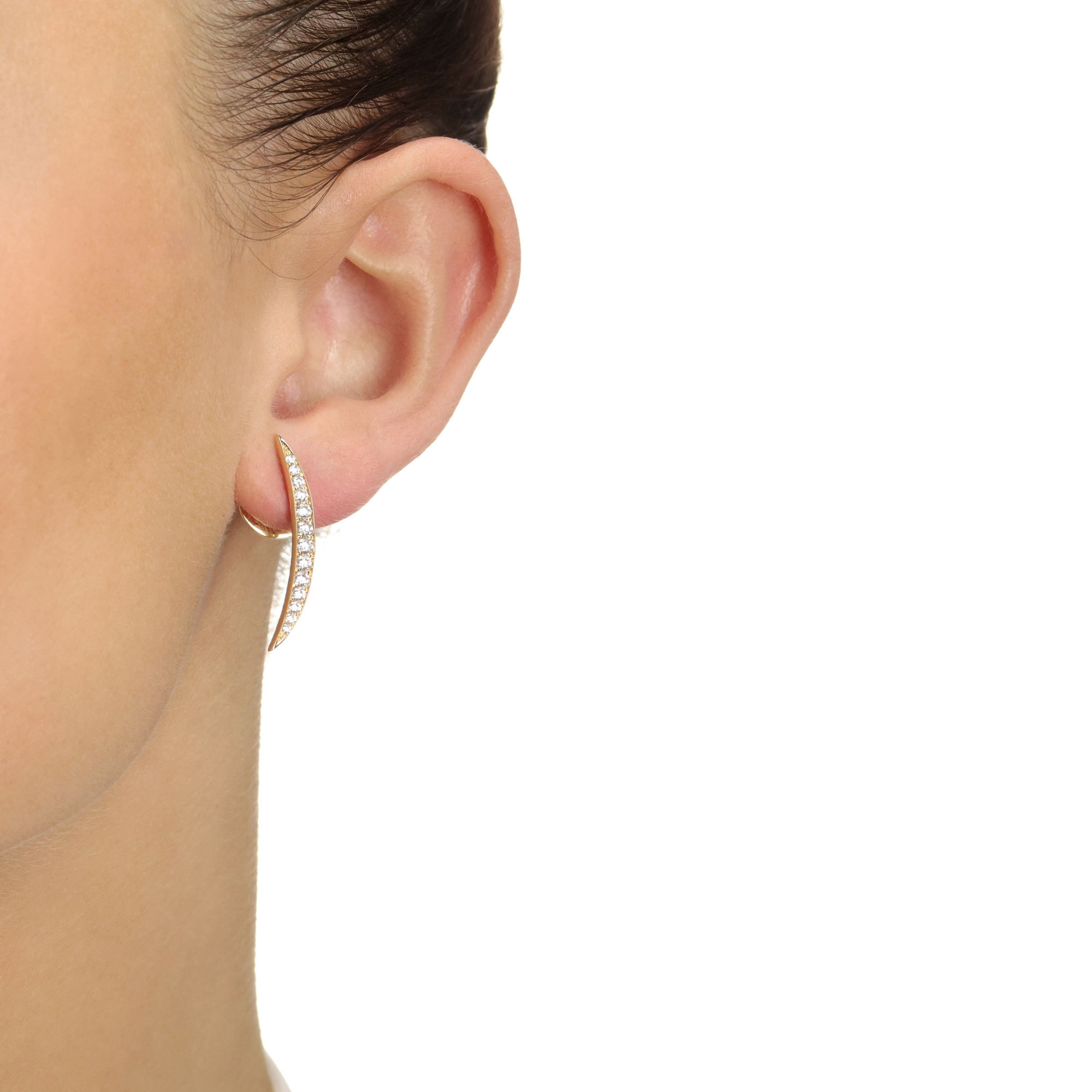 Crescent Yellow Gold Diamond Earrings