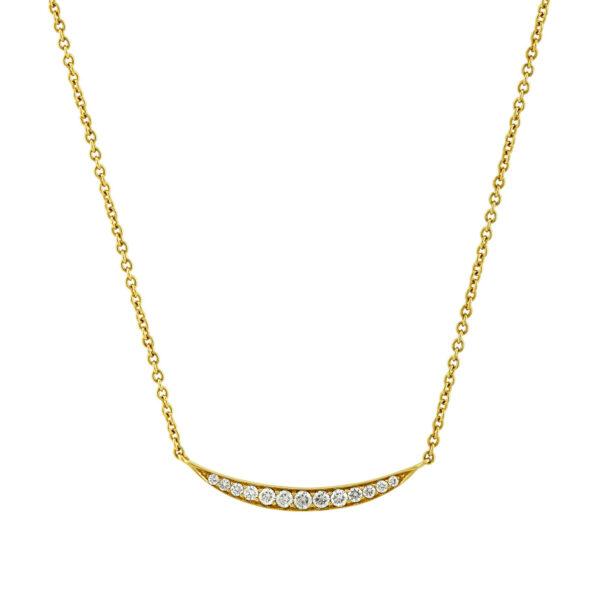 Crescent Yellow Gold Diamond Necklace