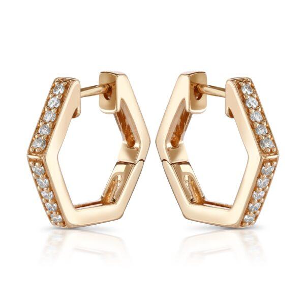 Honeycomb Rose Gold Diamond Hoop Earrings