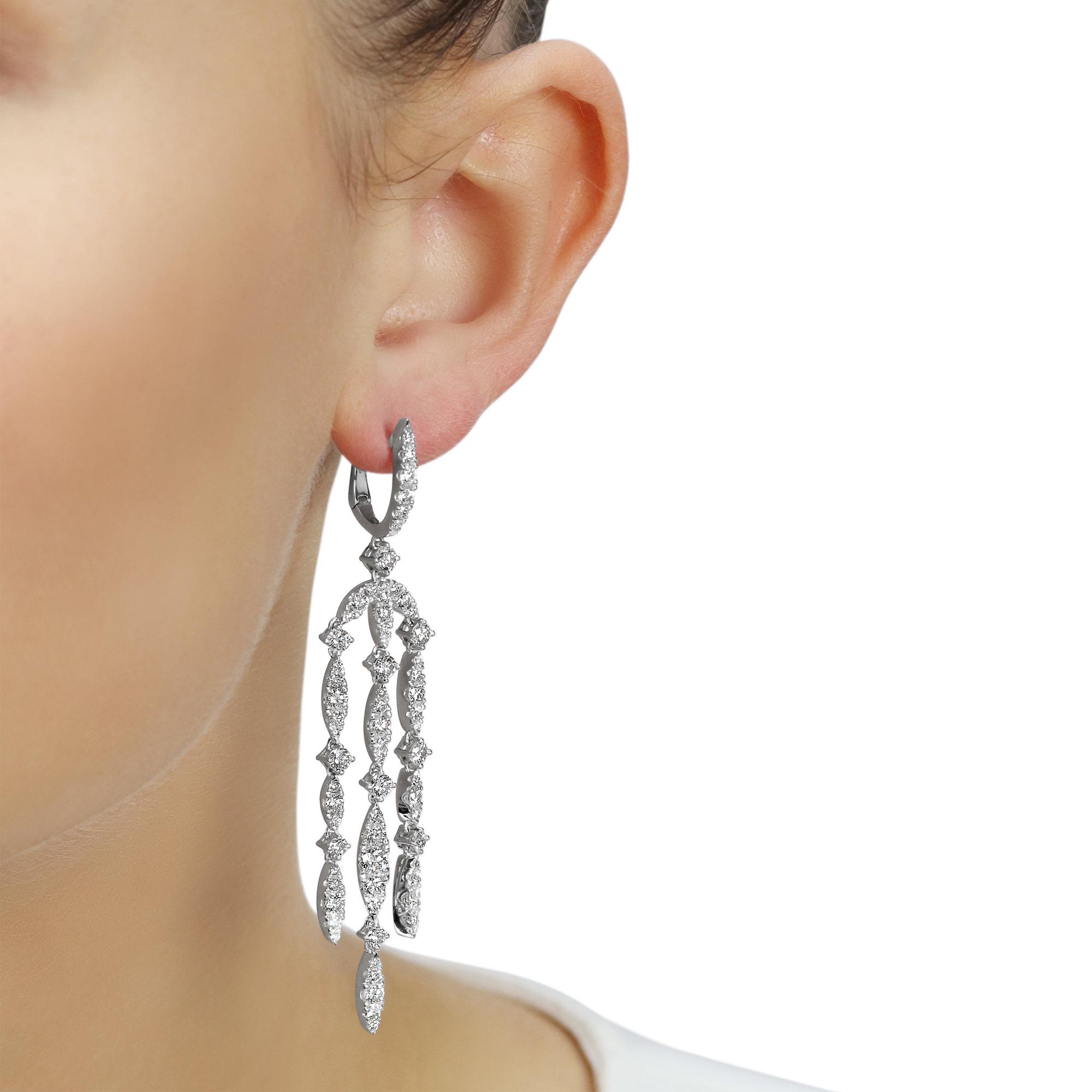 Eclipse White Gold Diamond Chandelier Earrings