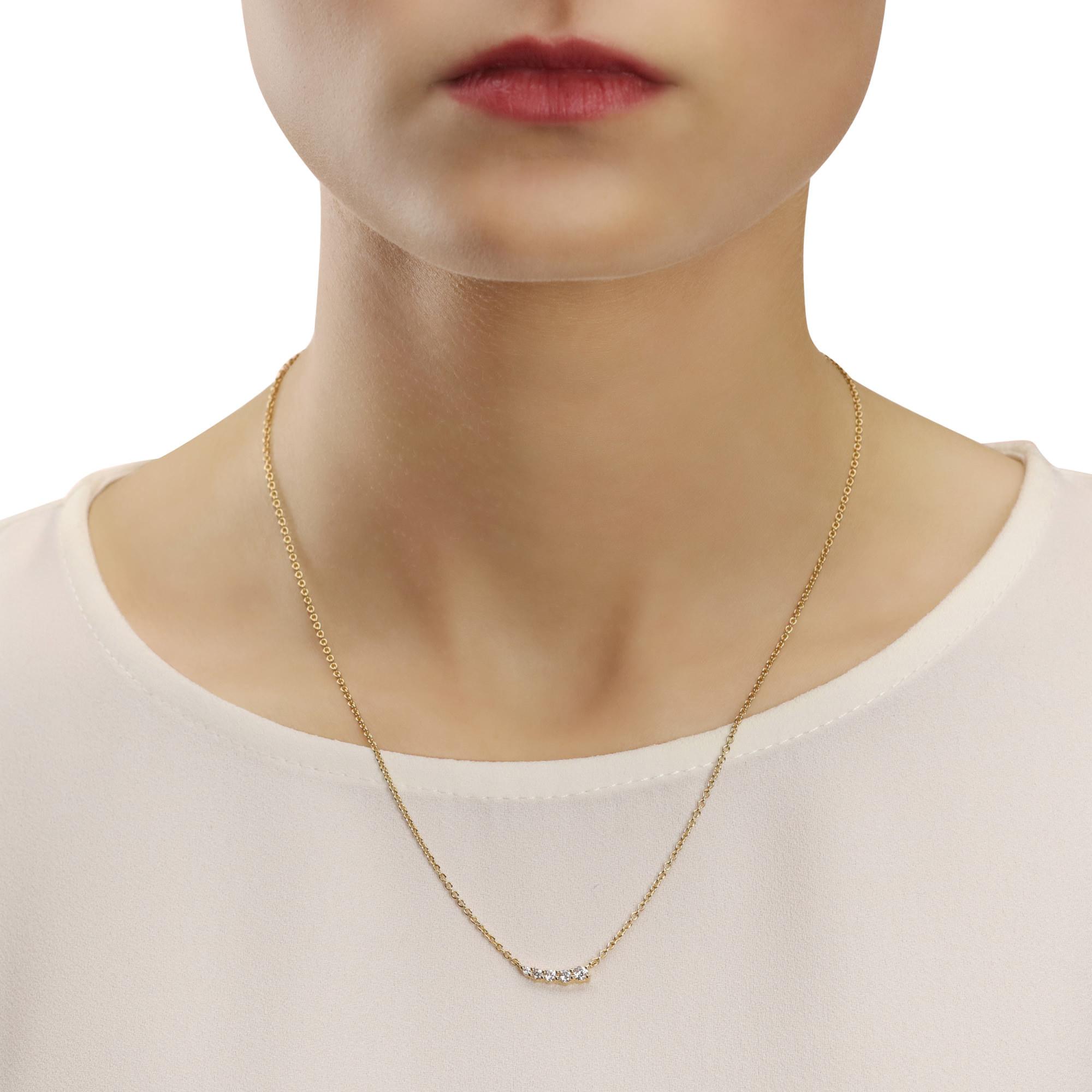 Five Stone Yellow Gold Diamond Necklace