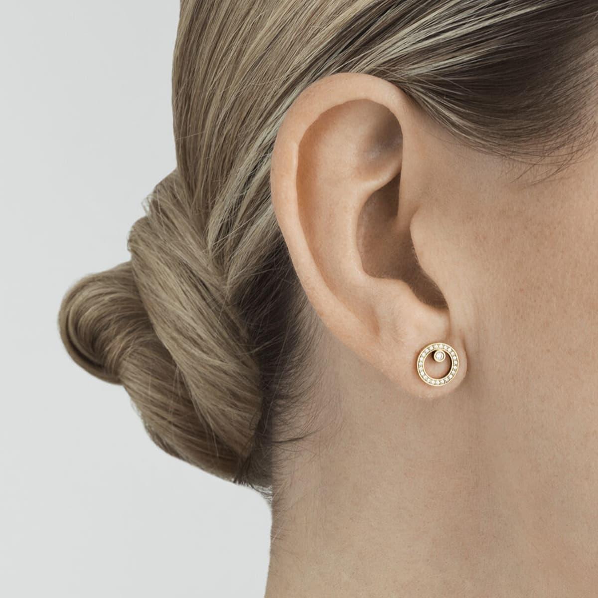 Halo 18ct Yellow Gold & Diamond Stud Earrings
