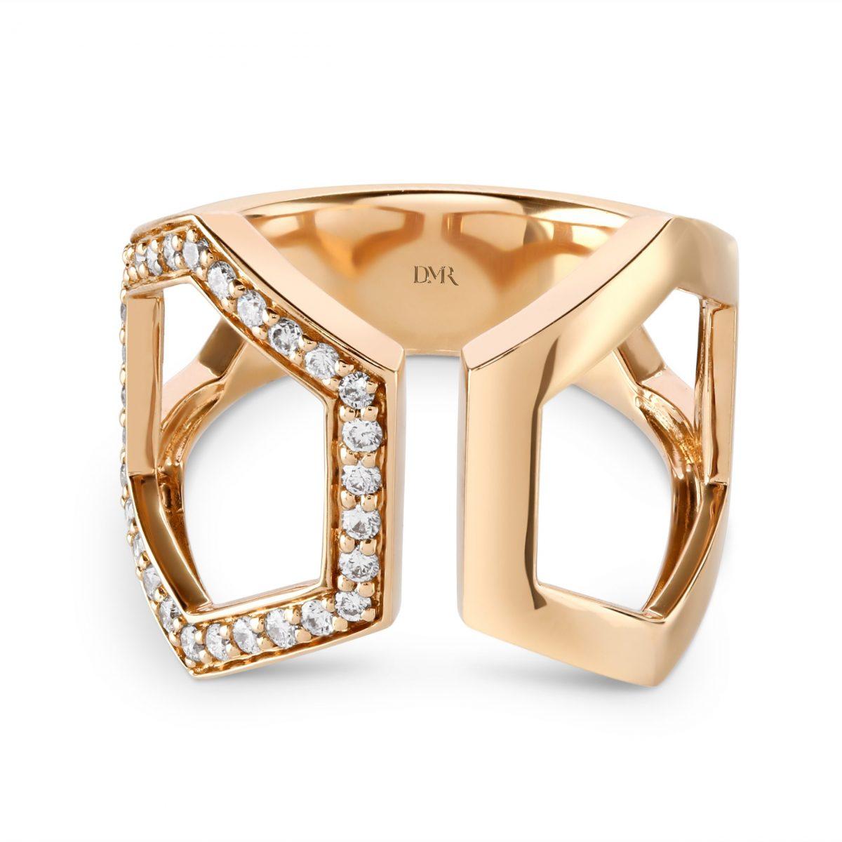 Honeycomb Rose Gold Diamond Ring