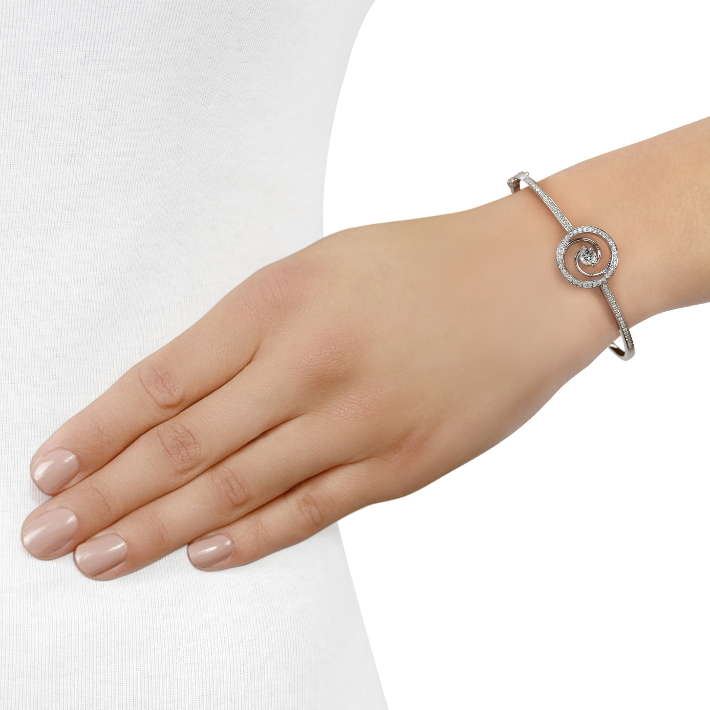 Whirlwind White Gold Diamond Bangle