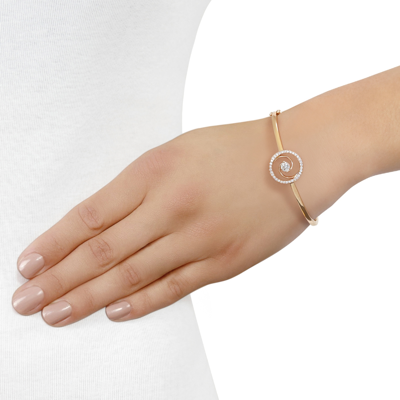 Whirlwind Rose Gold Diamond Bangle