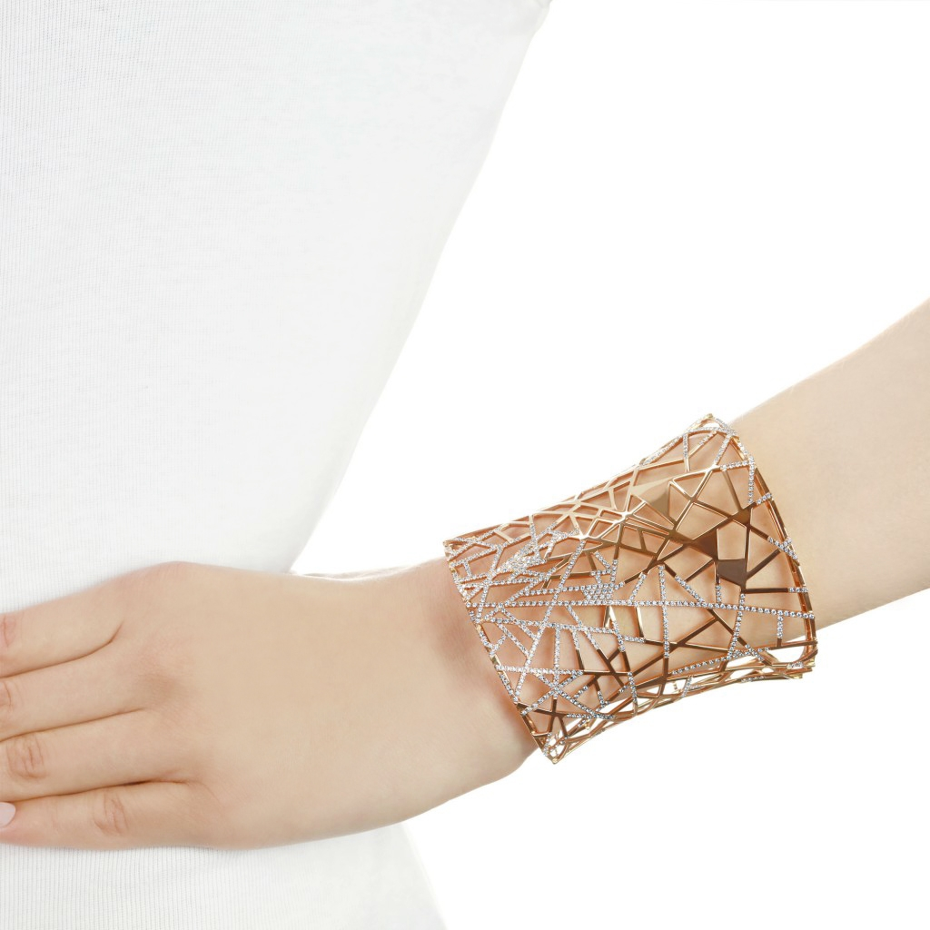 Lattice Rose Gold Diamond Cuff