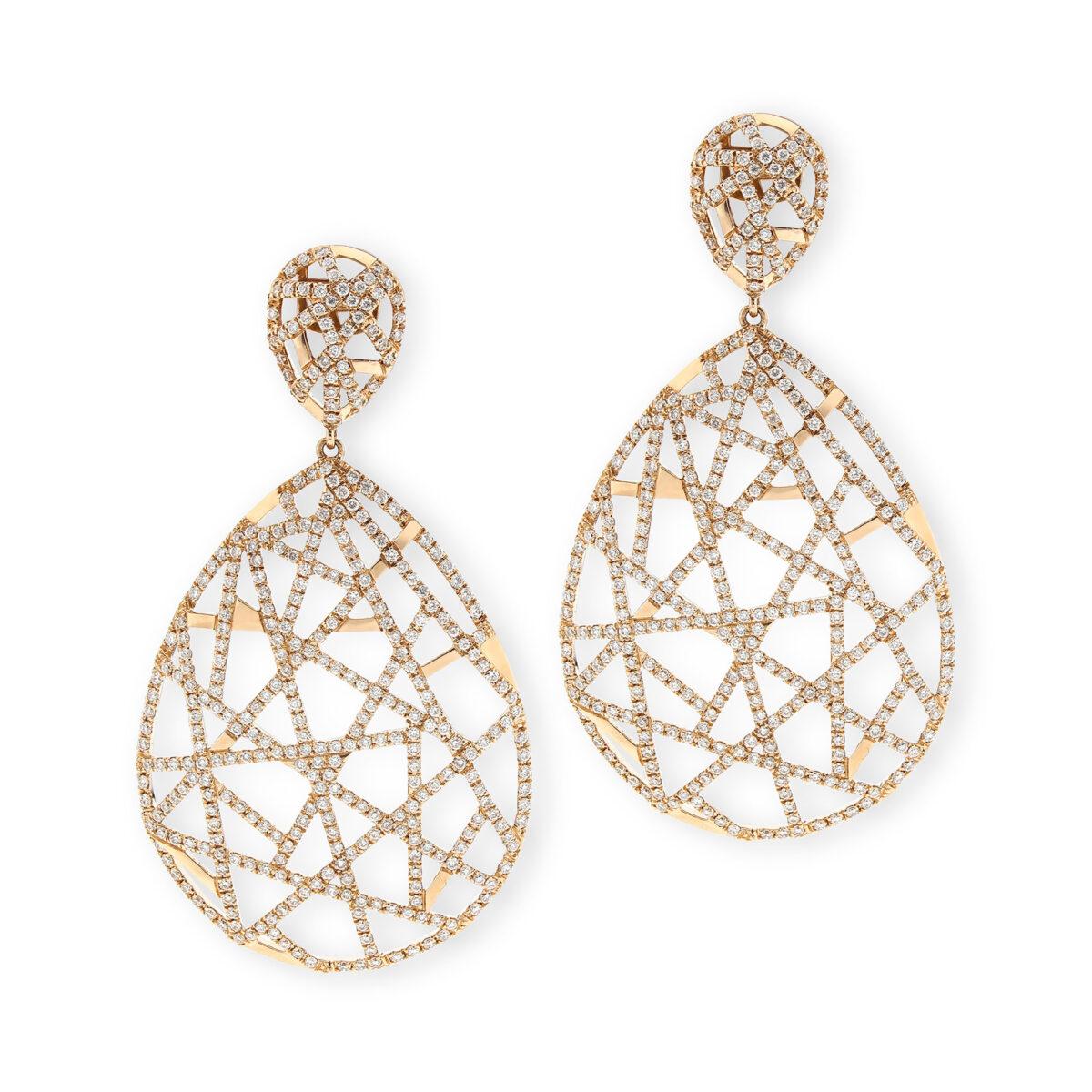 Lattice Rose Gold Diamond Earrings