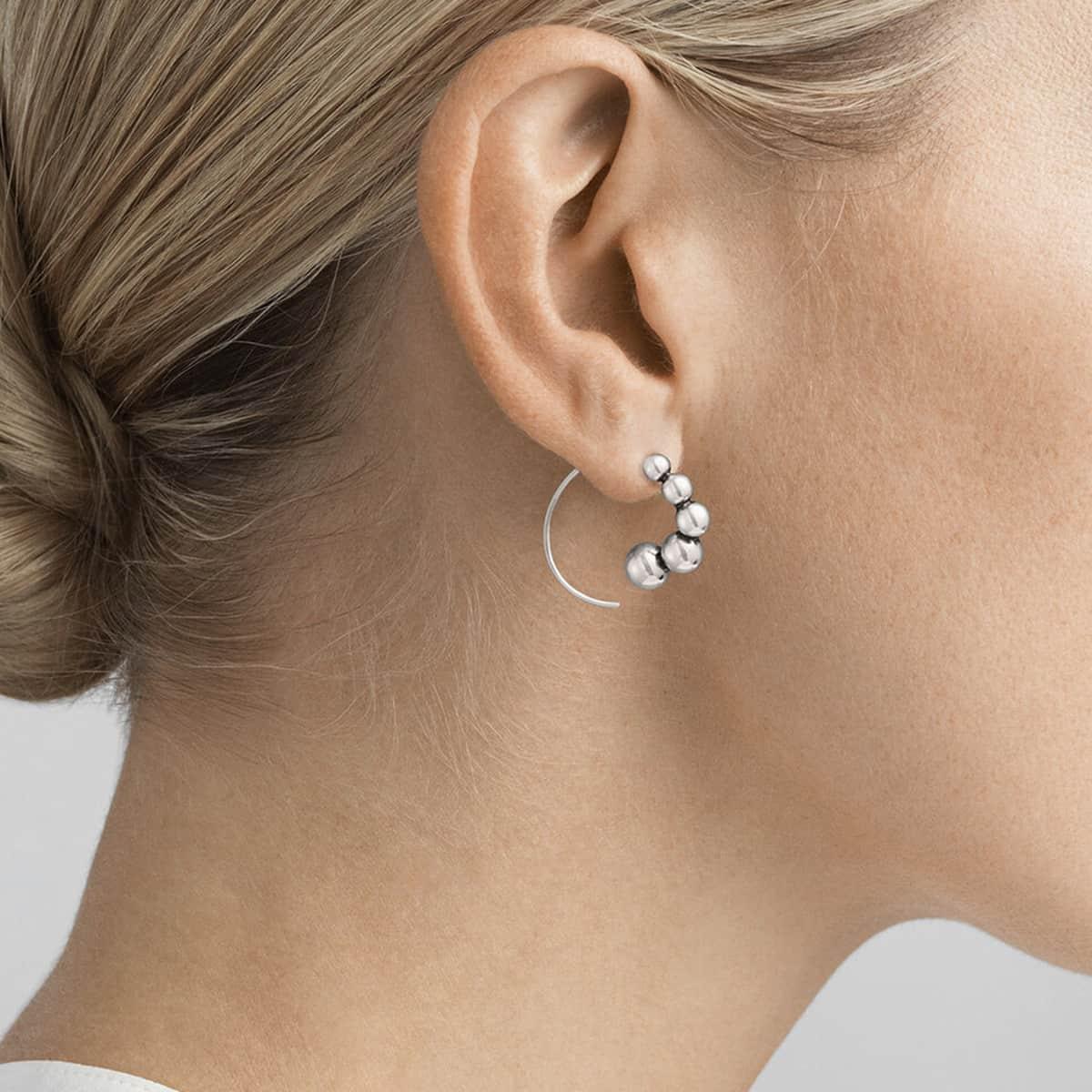 Moonlight Grapes Sterling Silver Hoop Earrings