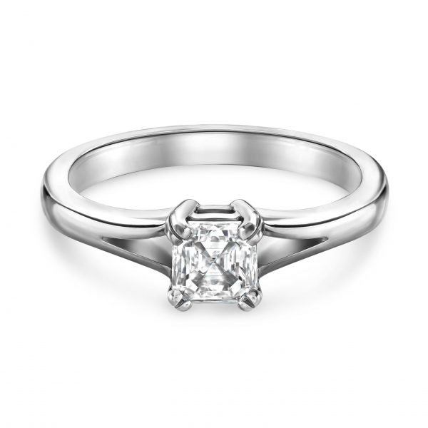 Asscher Cut Platinum Diamond Ring