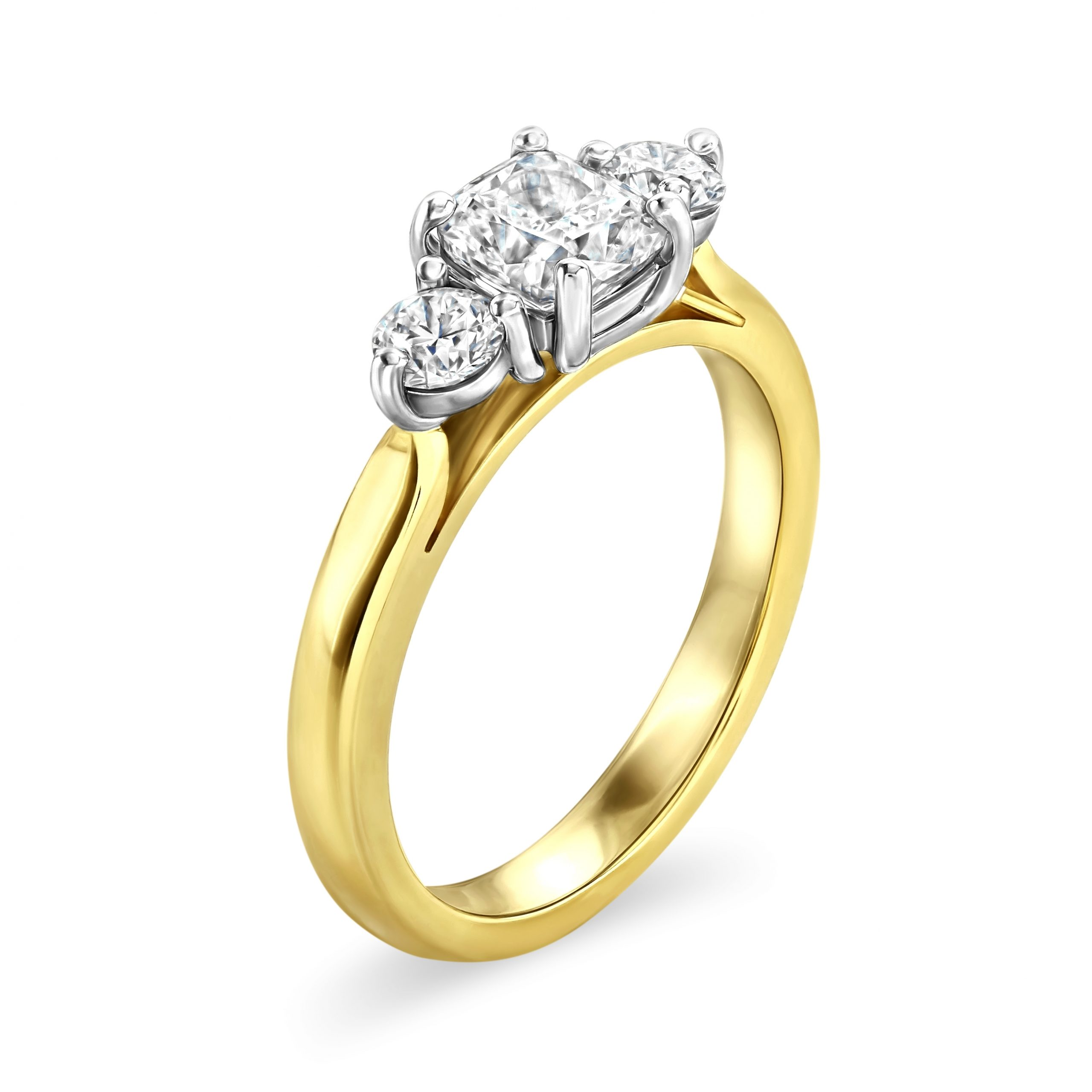 Cushion Cut Yellow Gold Diamond Trilogy Ring
