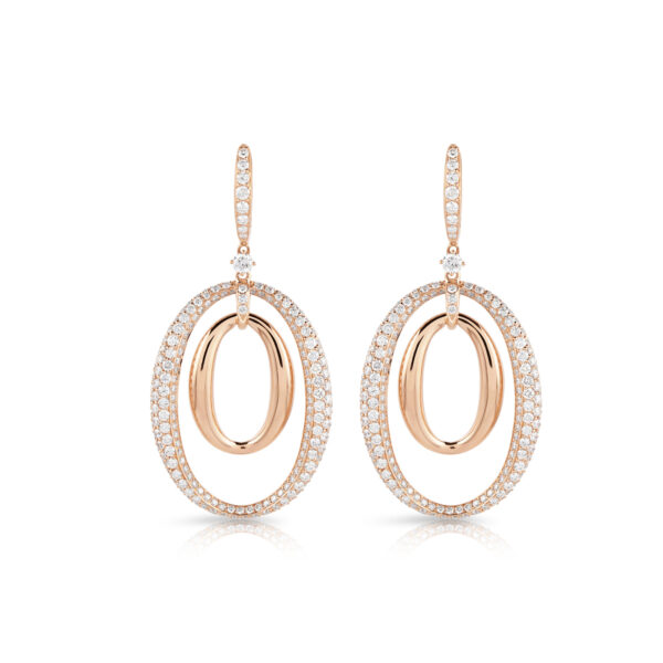 Surround Double Ellipse Rose Gold Diamond Earrings